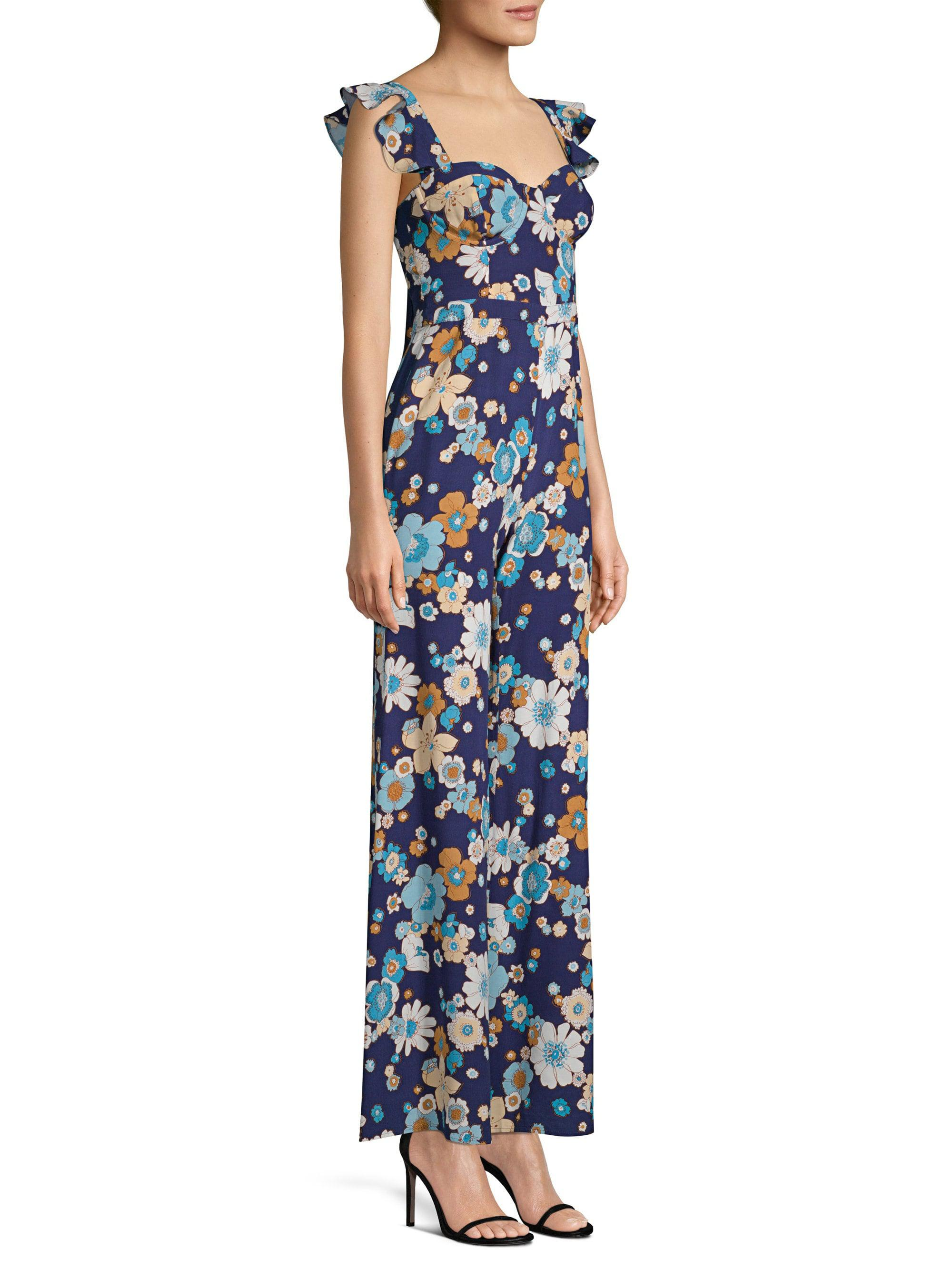 f0fa18675e5 For Love   Lemons Magnolia Ruffled Jumpsuit in Blue - Lyst