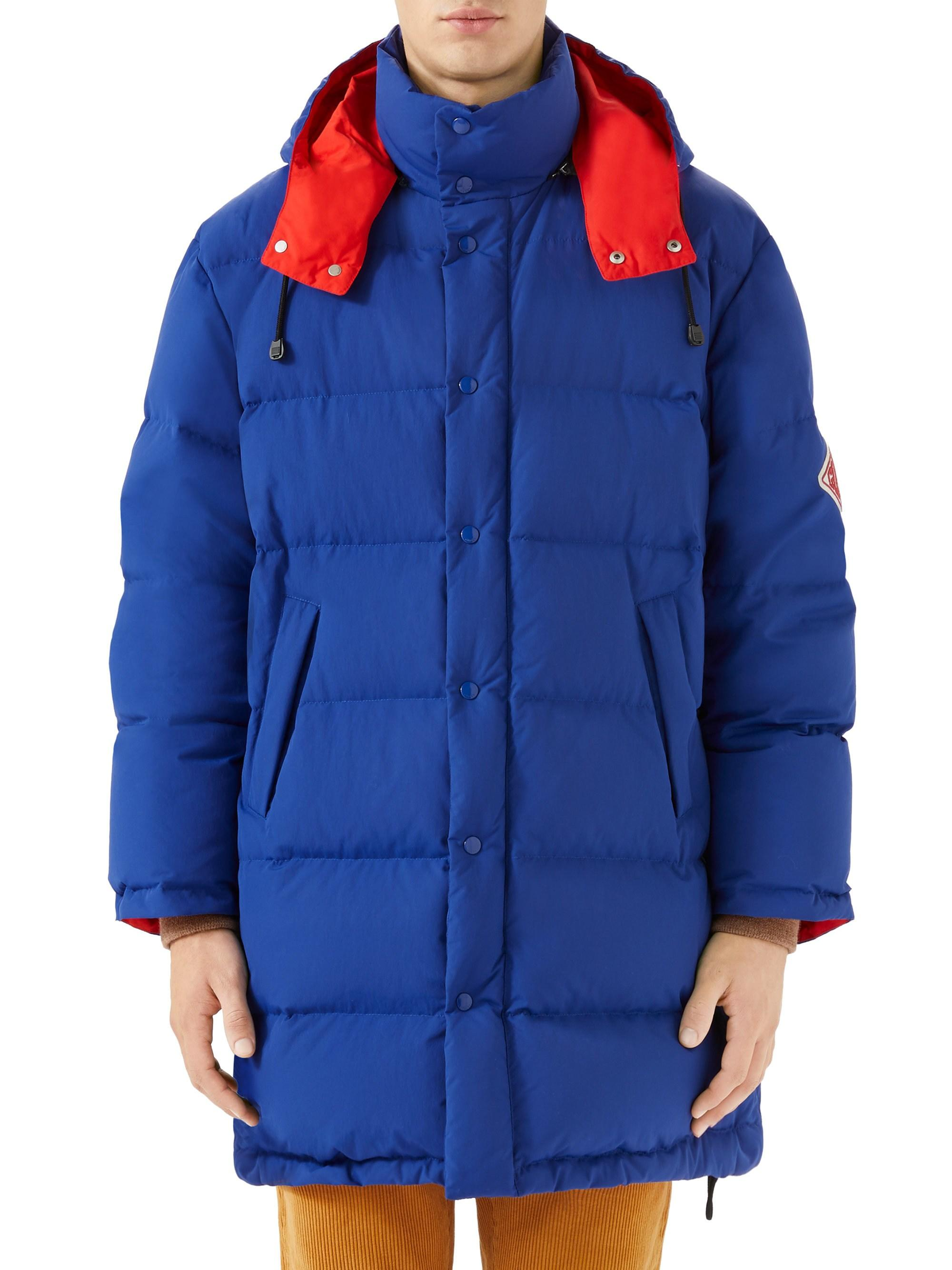 0f90b76fa Gucci Men's Nylon Puffer Jacket - Blueprint Candy Red in Blue for ...