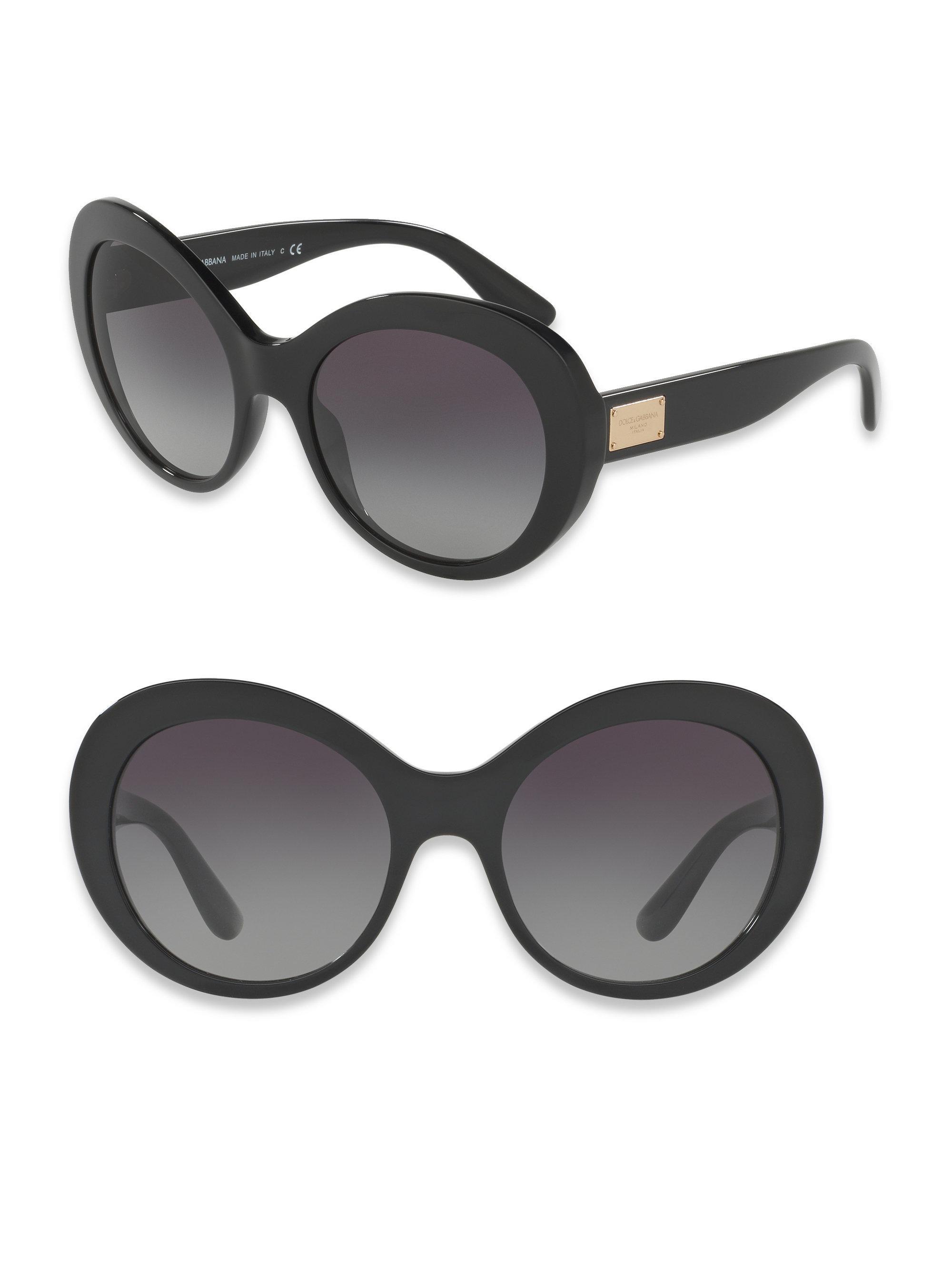 21f9ca738e32 Lyst - Dolce & Gabbana 57mm Leopard-print Oval Sunglasses in Black