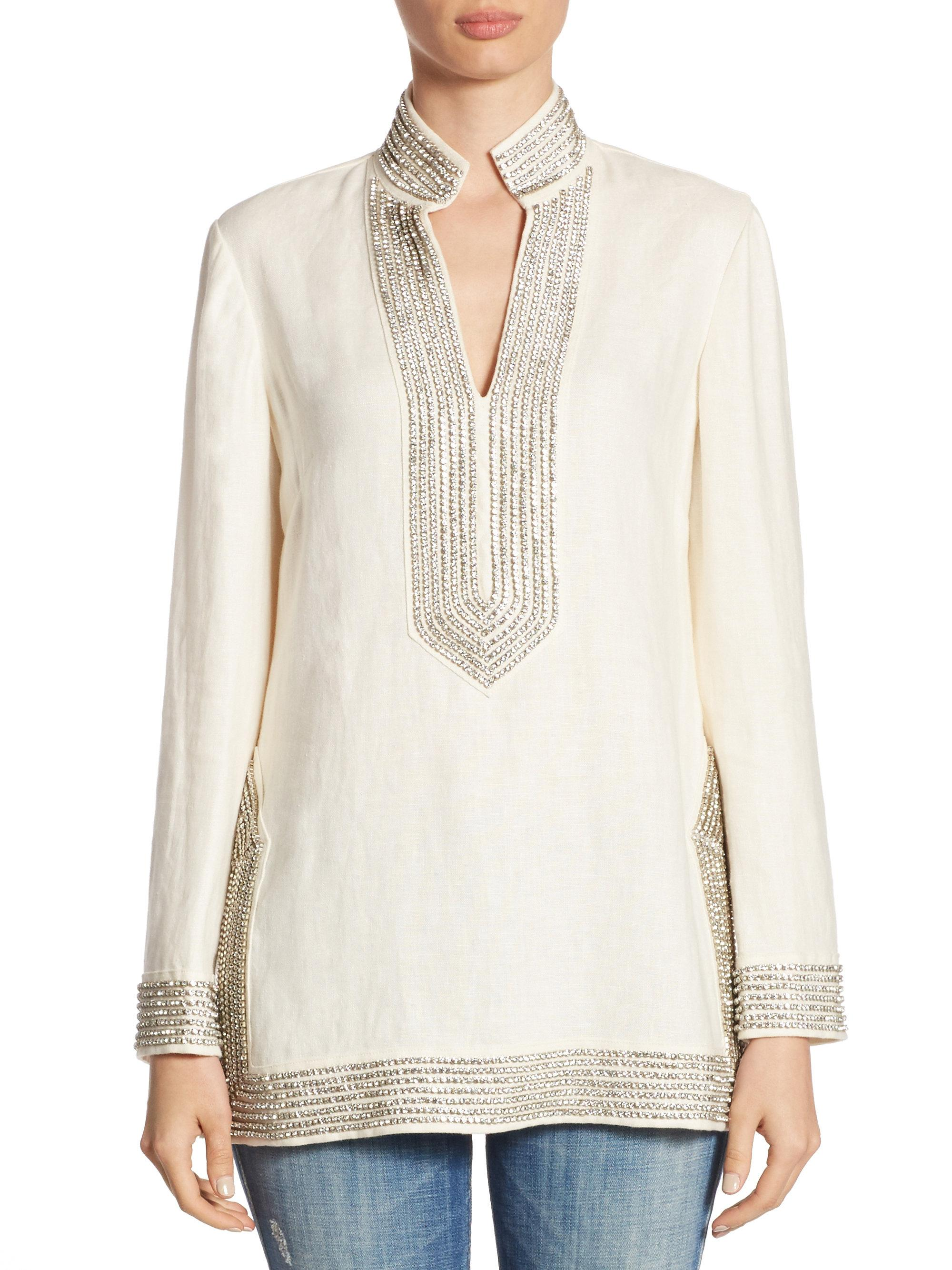 d8ce450c8d2 Tory Burch Crystal-embellished Linen Tunic in White - Lyst
