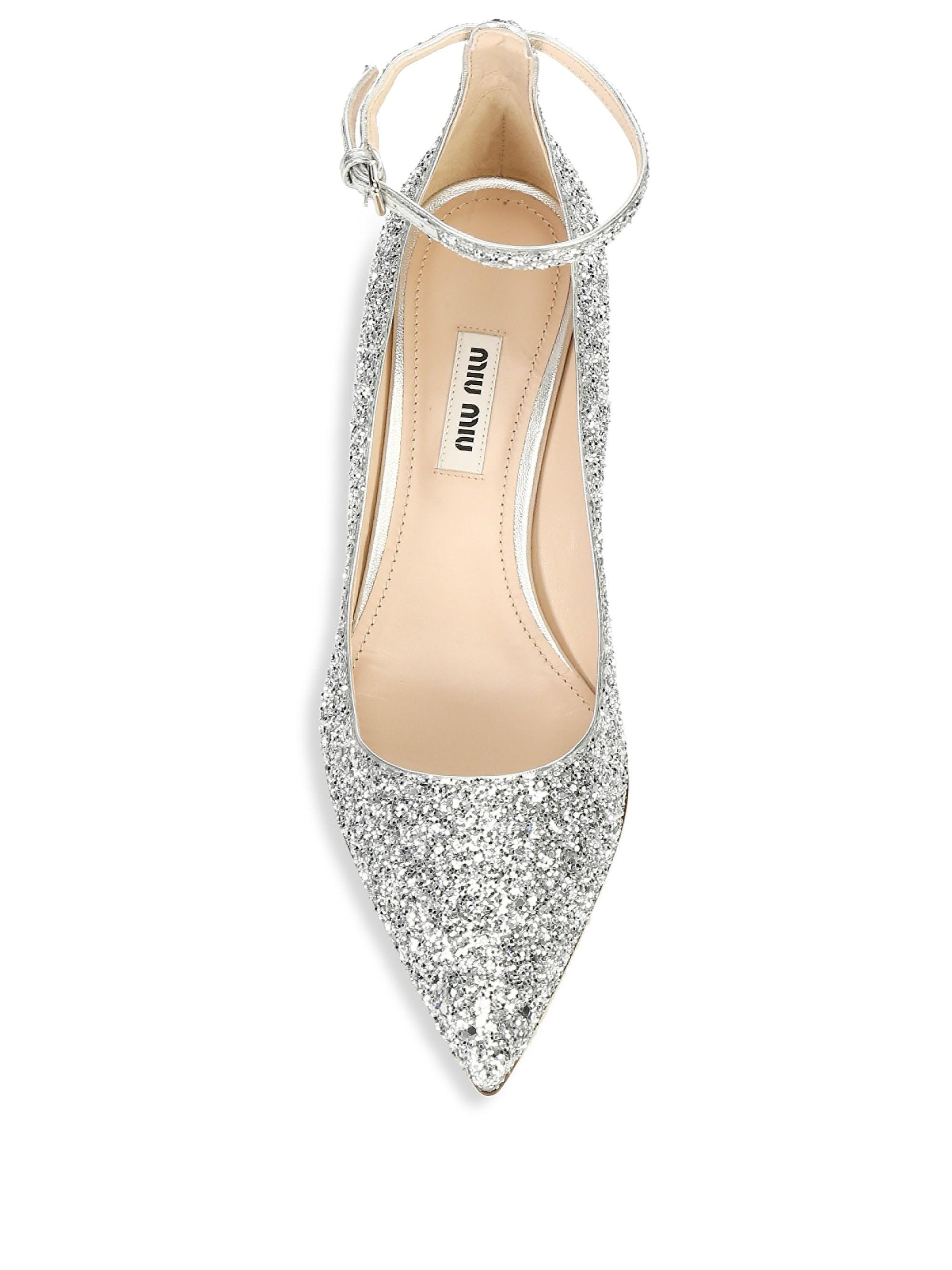 9e75ec519ee Miu Miu Crystal Glitter Ankle-strap Pumps in Metallic - Lyst