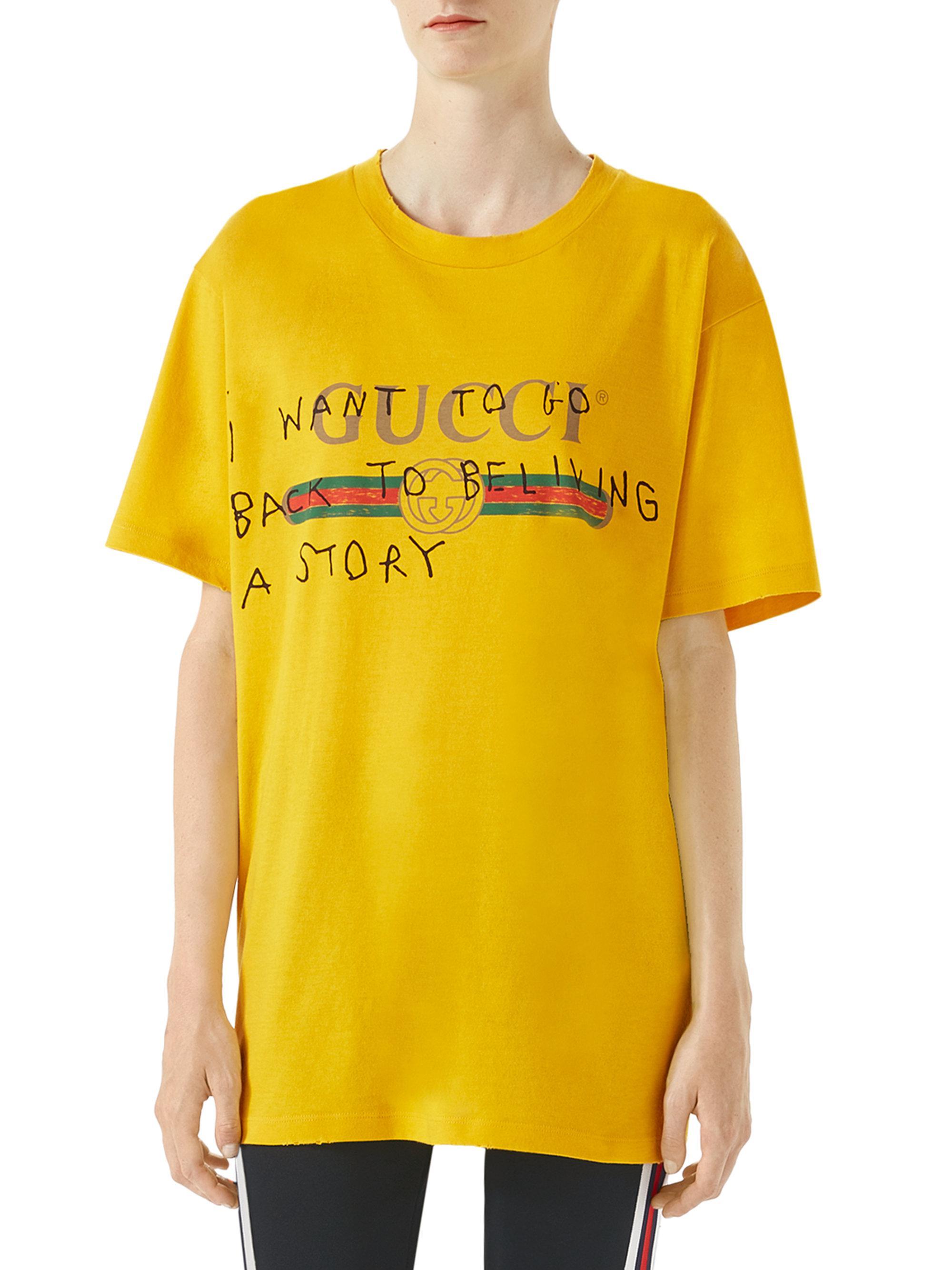 Lyst - Gucci Logo Writing T-shirt in Yellow a660008db1a8