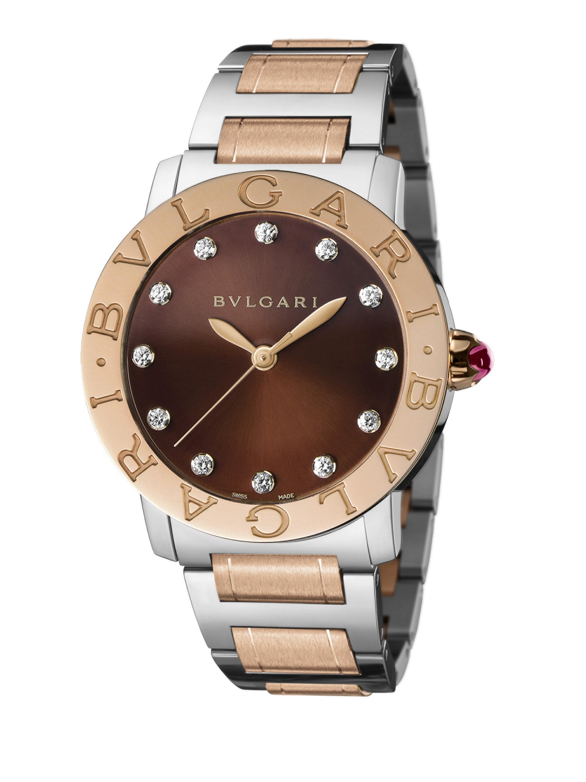 bvlgari rose gold stainless steel amp diamond bracelet