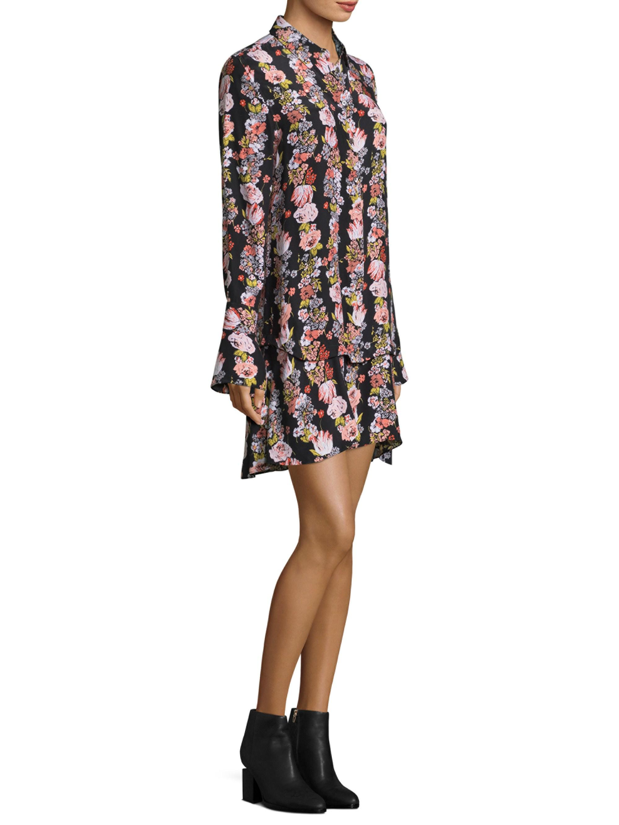 Lyst Equipment Daphne Silk Floral Shirt Dress In Black