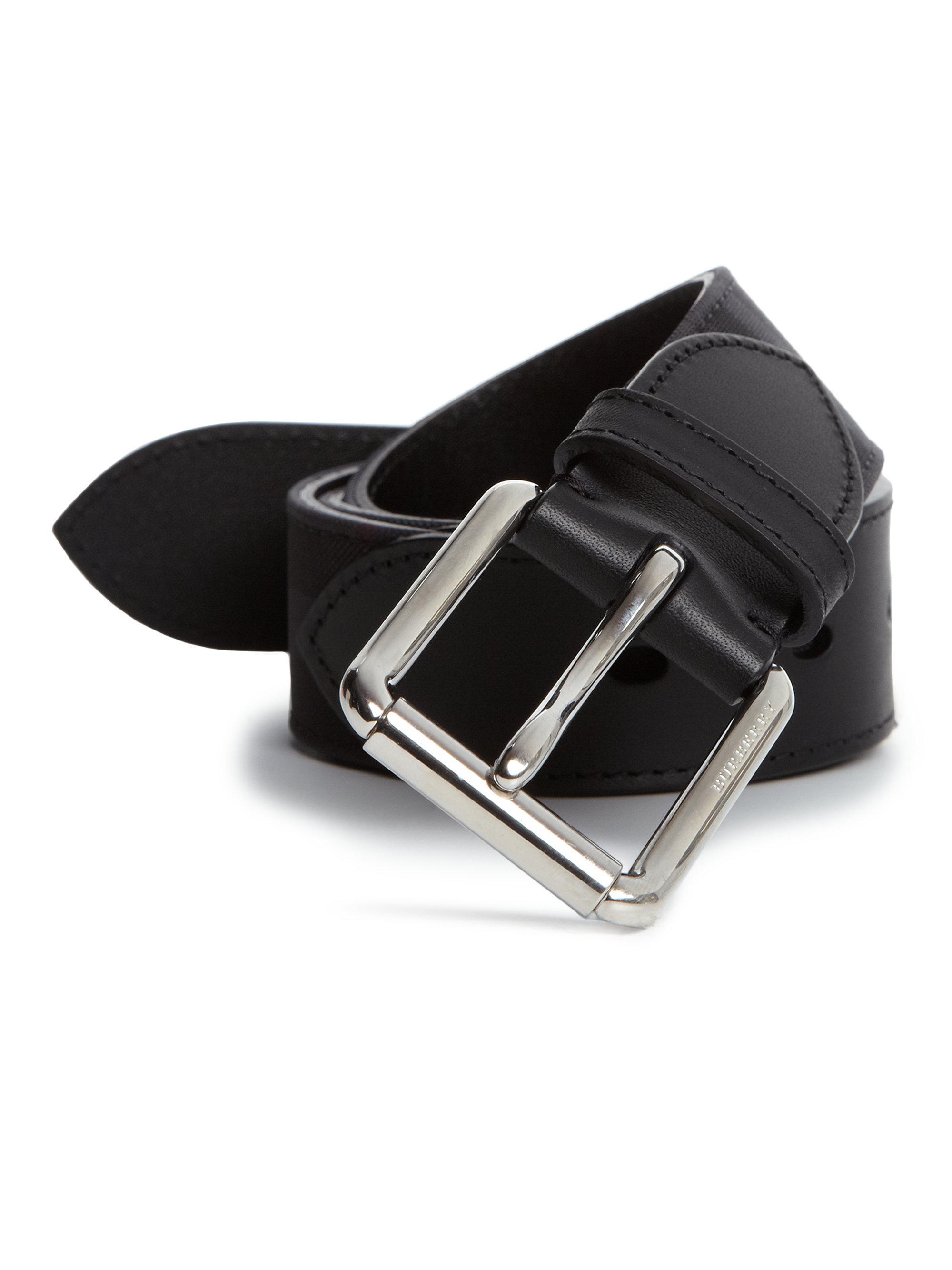 c1248455e00809 Lyst - Burberry Signature Check Belt in Black for Men