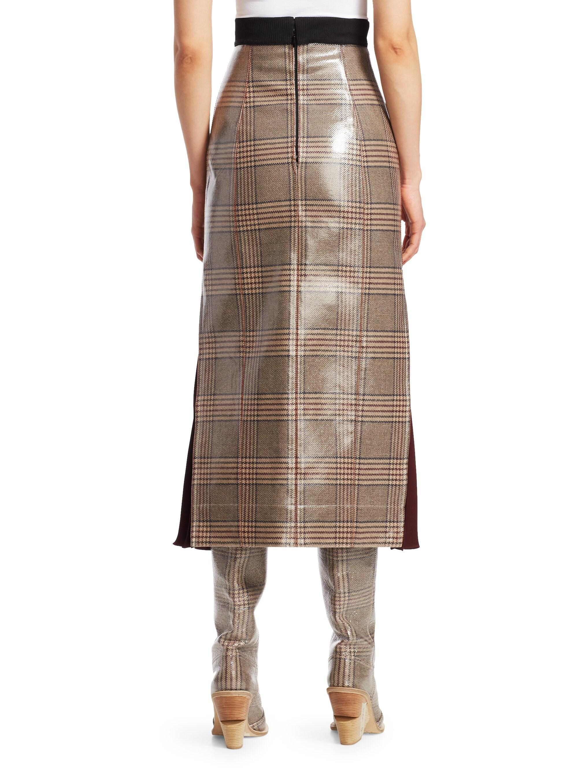 12af4d35da10e5 Fendi Glazed Check Midi Skirt in Brown - Lyst