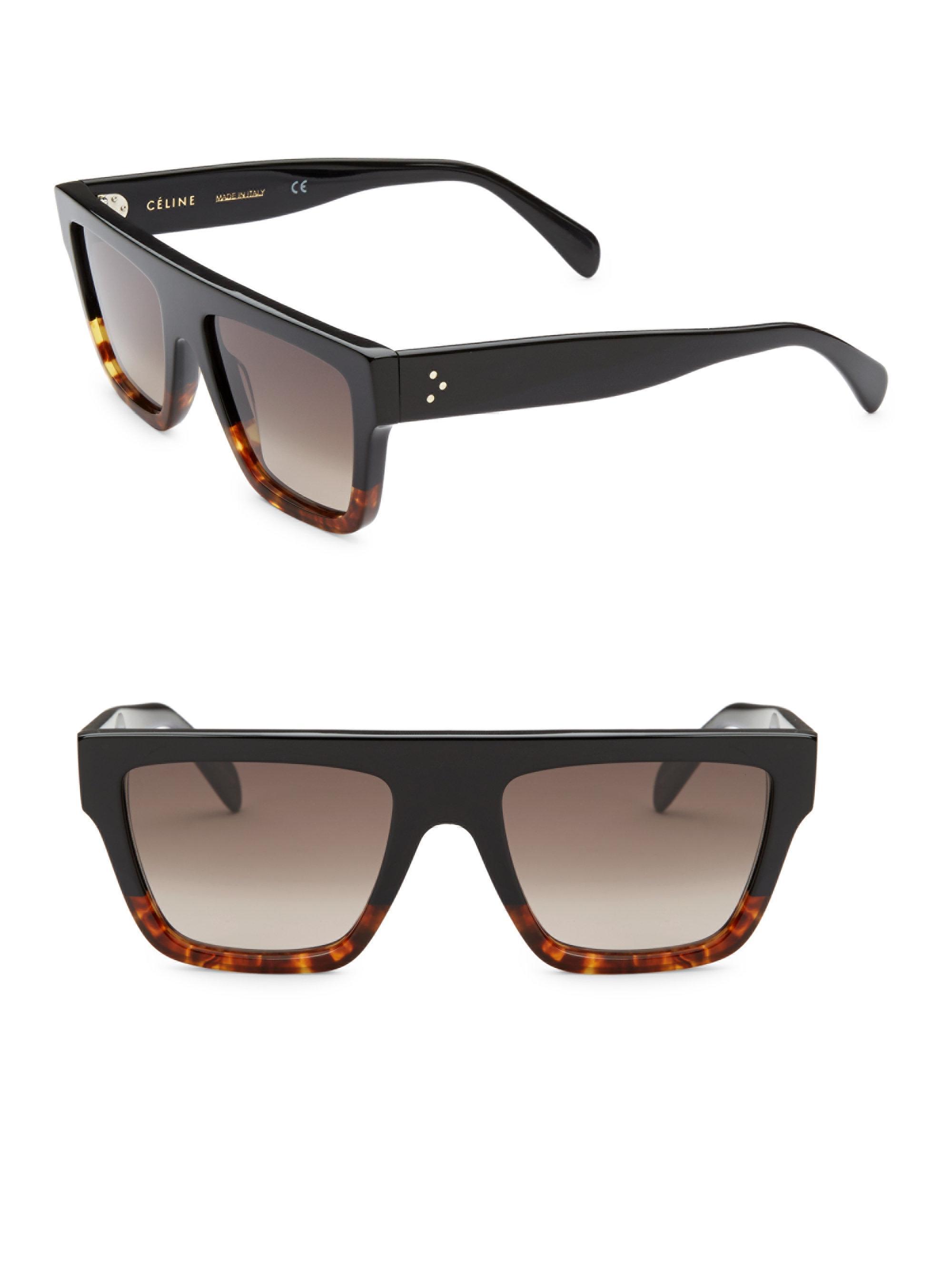 cfd771556e8 Céline - Women s 50mm Rectangular Sunglasses - Black - Lyst. View fullscreen