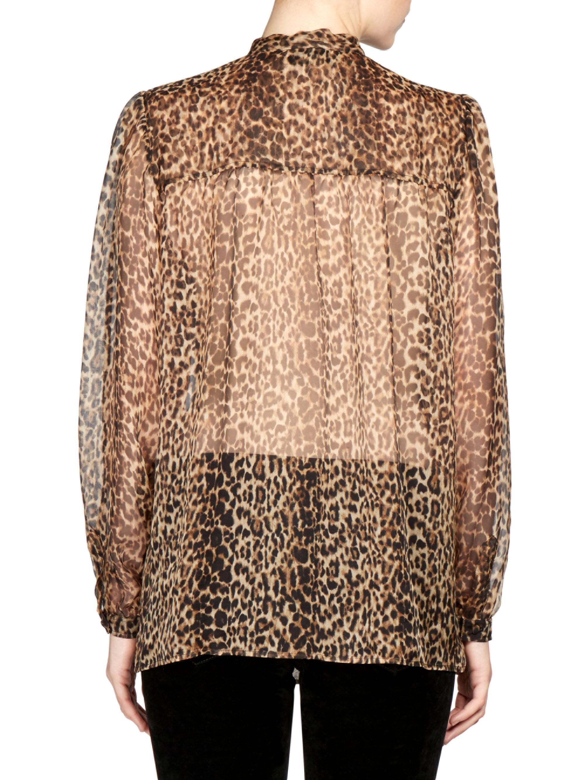 d60f458e22103e Saint Laurent Silk Georgette Leopard Print Blouse - Lyst