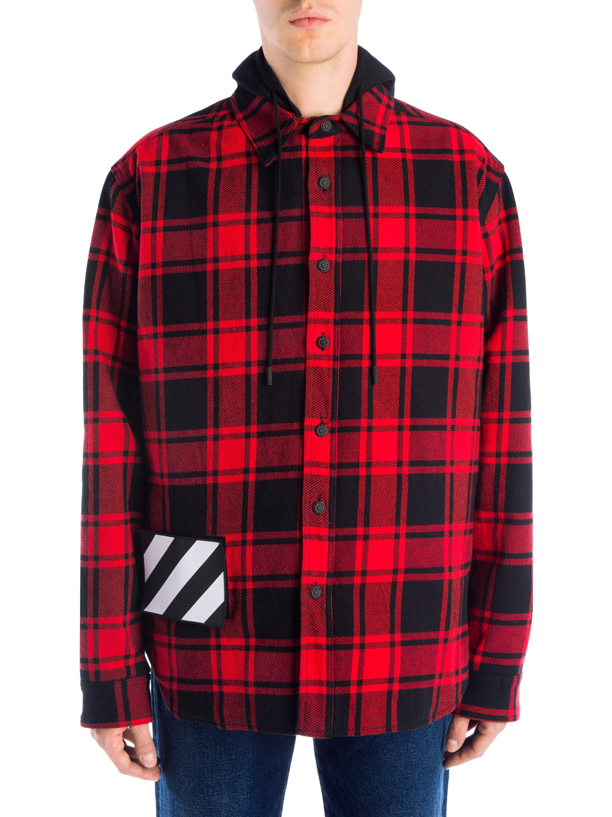 35936574ef27 Off-White c o Virgil Abloh Plaid Padded Hoodie Shirt in Red for Men ...