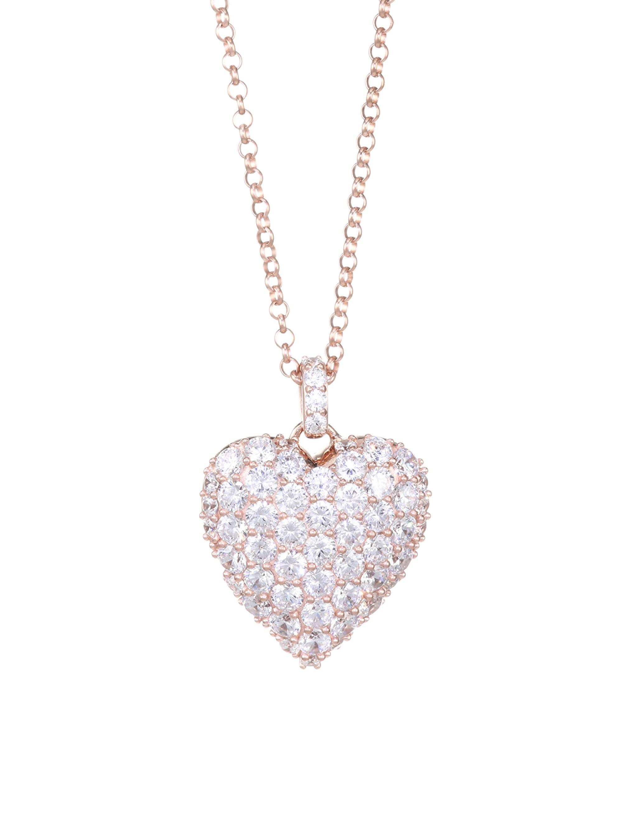 12mm Rose Cubic Zirconia Crystal Heart Charm Necklaces Jewelry & Watches
