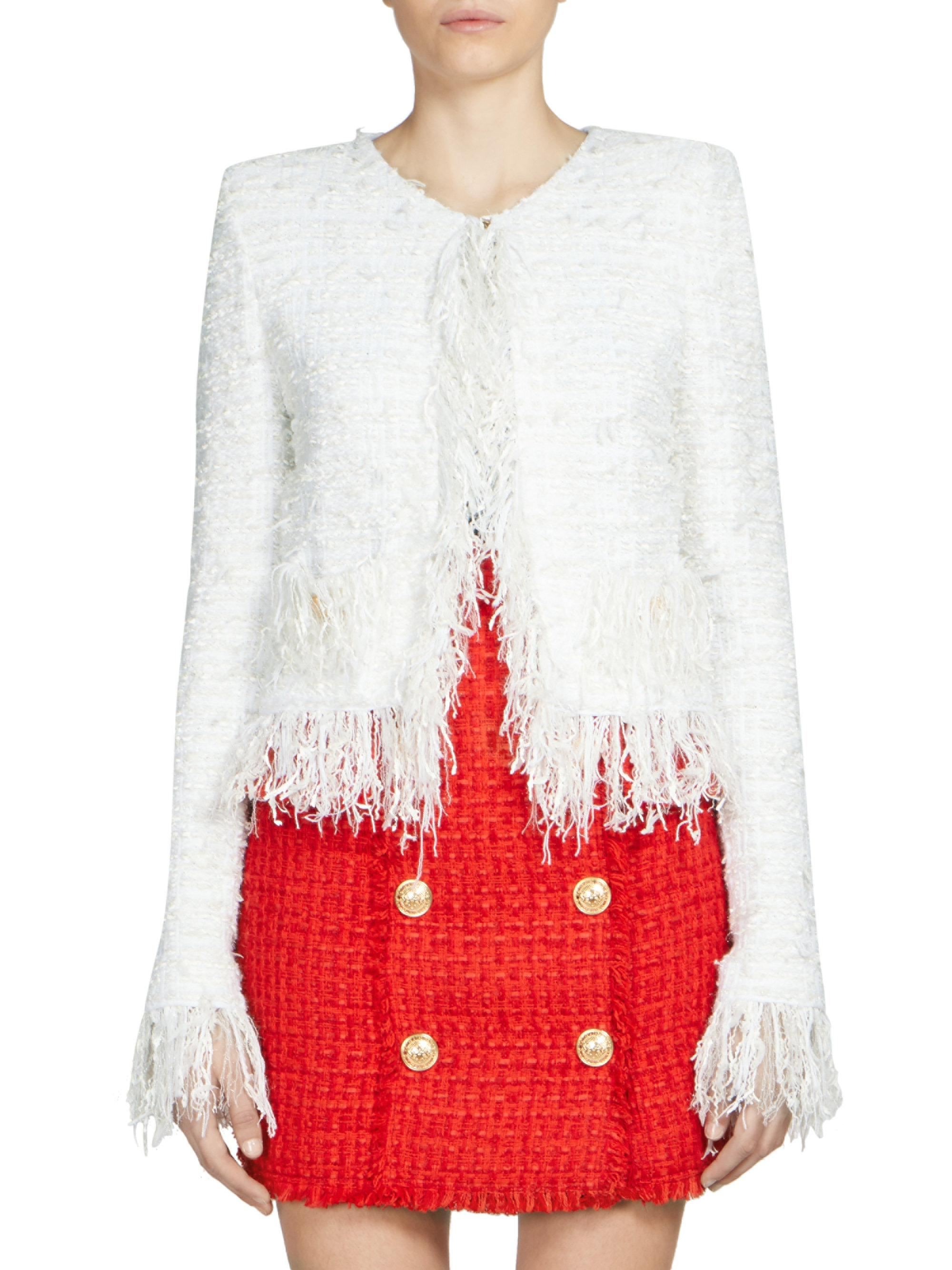 3b2a4b05b3e289 Balmain Fringe Tweed Jacket in White - Lyst