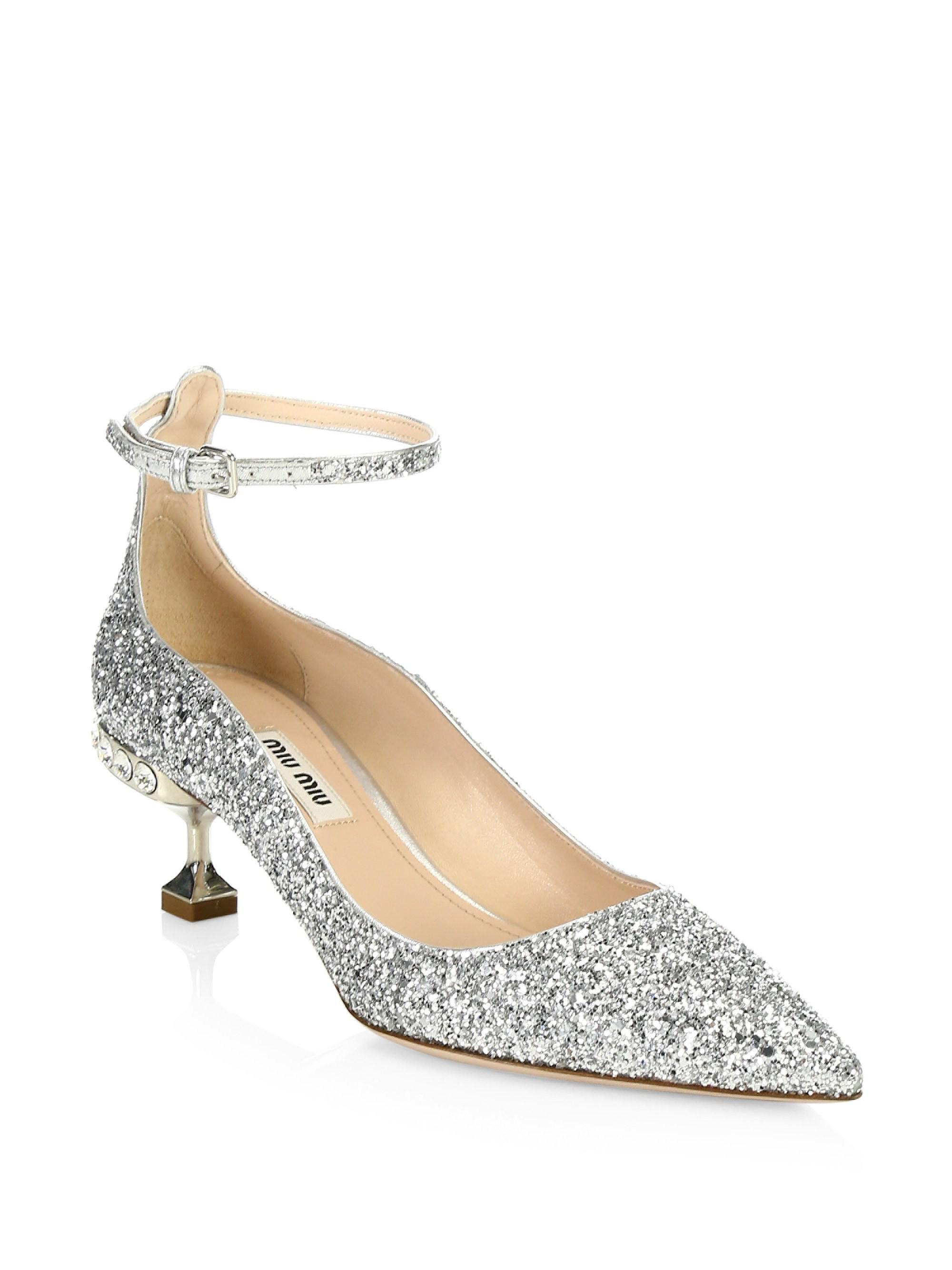 dba141b6b1 Miu Miu Women's Crystal Glitter Ankle-strap Pumps - Silver in ...