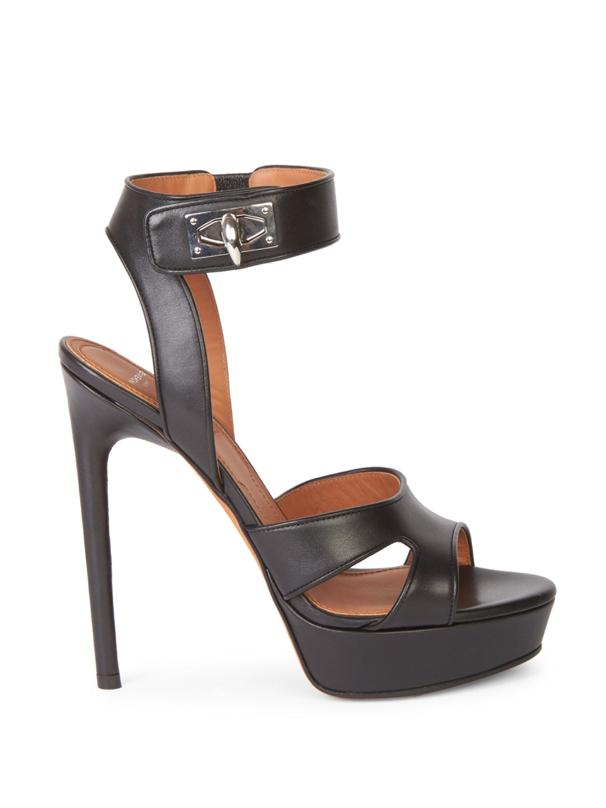 Lyst - Givenchy Turnlock Ankle-strap Sandals in Black