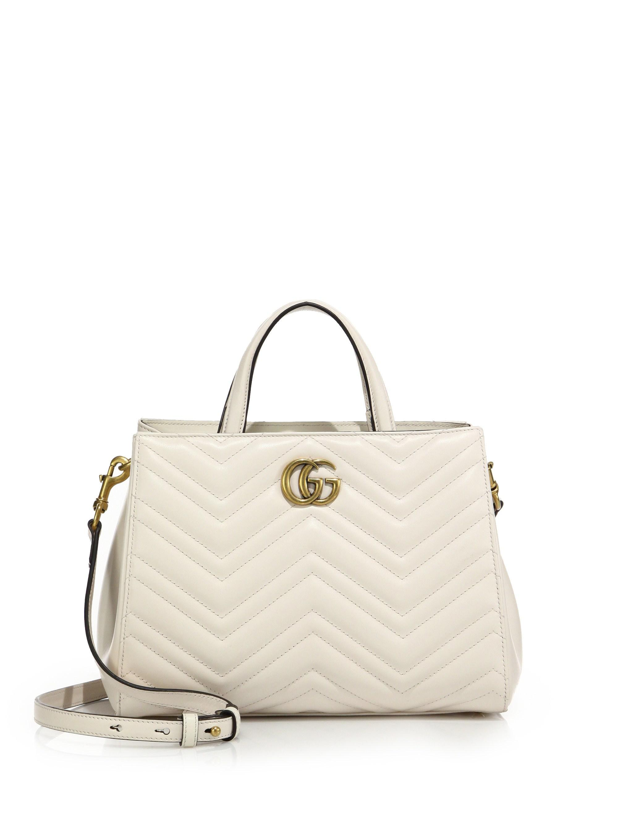 081dc2888a8f Gucci GG Marmont Matelasse Leather Top-Handle Tote in White - Lyst