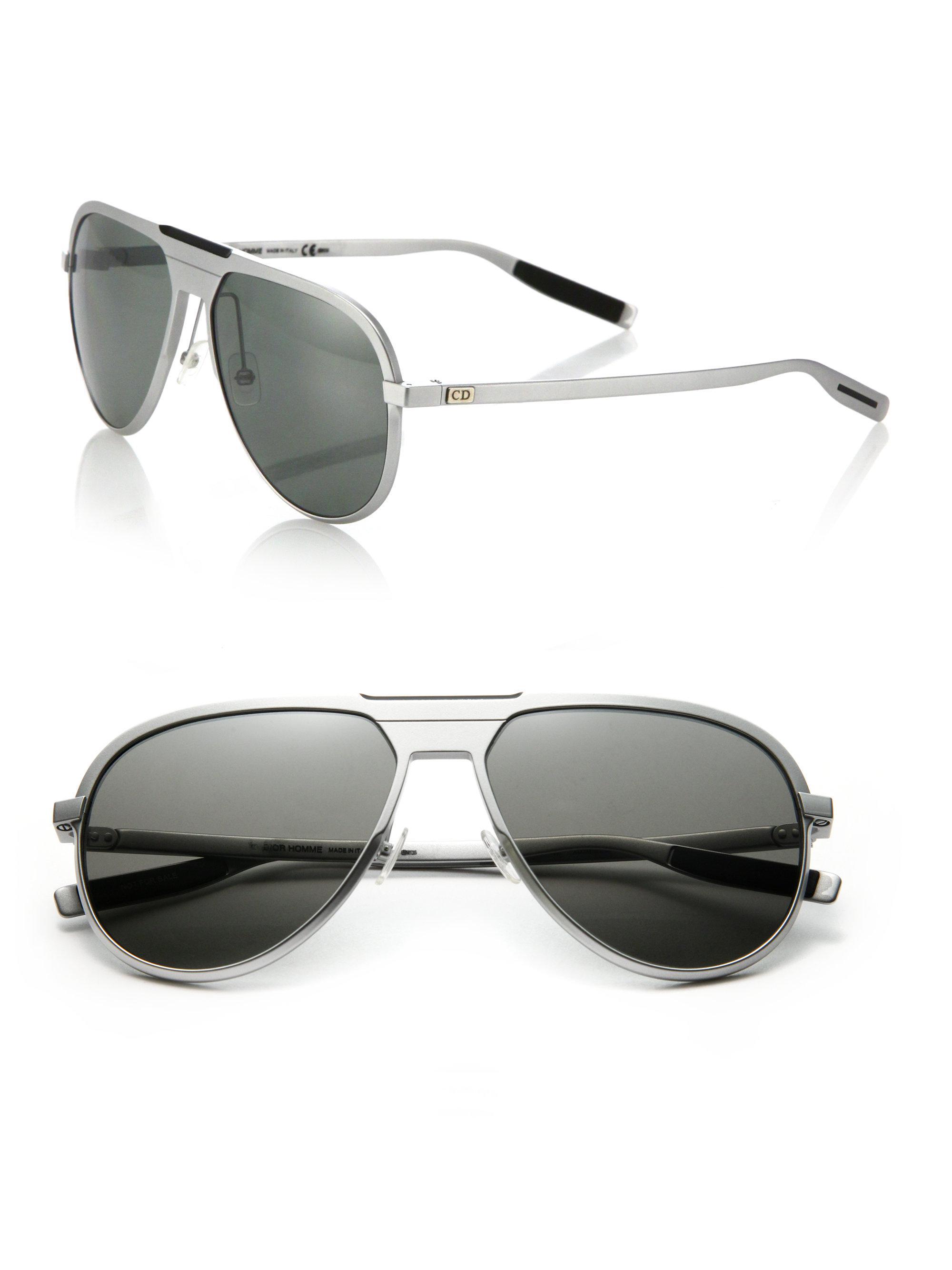 7e7fdffea2e Lyst - Dior Homme 136 s 59mm Mirror Aviator Sunglasses in Metallic ...