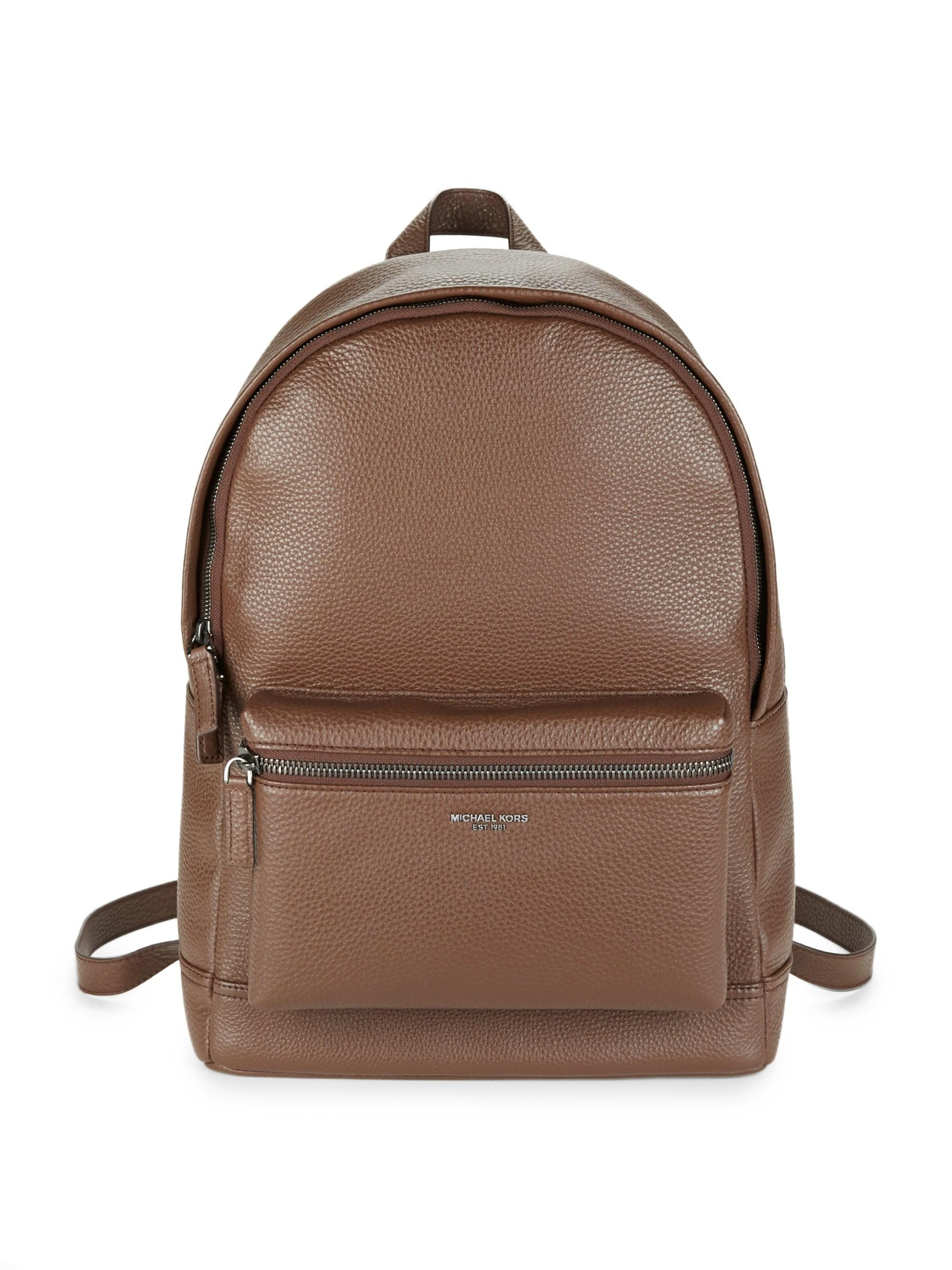 6e502bbb07d7 Michael Kors. Brown Men's Bryant Pebble-textured Leather Backpack - Luggage