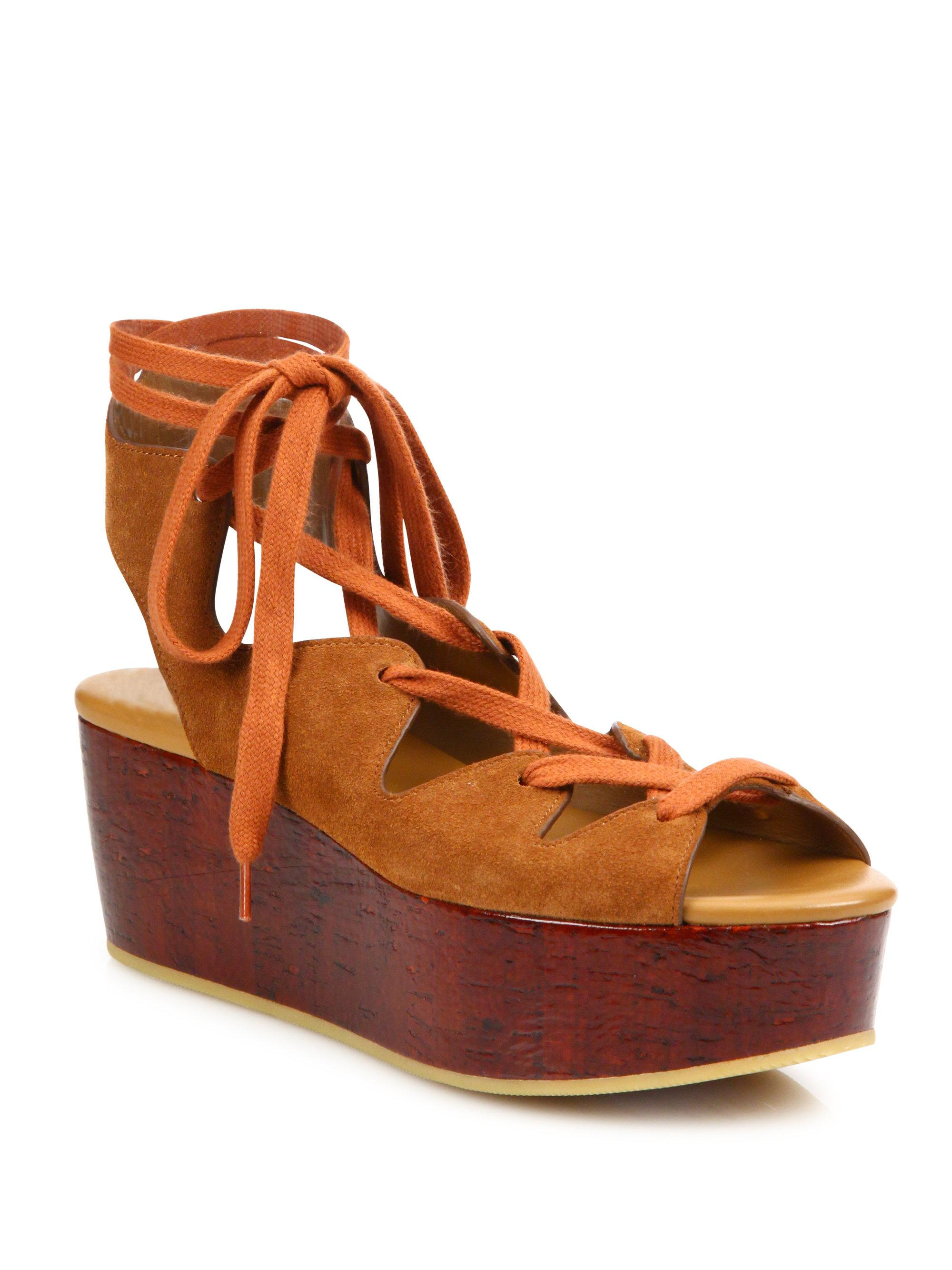 73917b0ee7a See By Chloé - Brown Liana Suede Lace-up Wedge Platform Sandals - Lyst. View  fullscreen