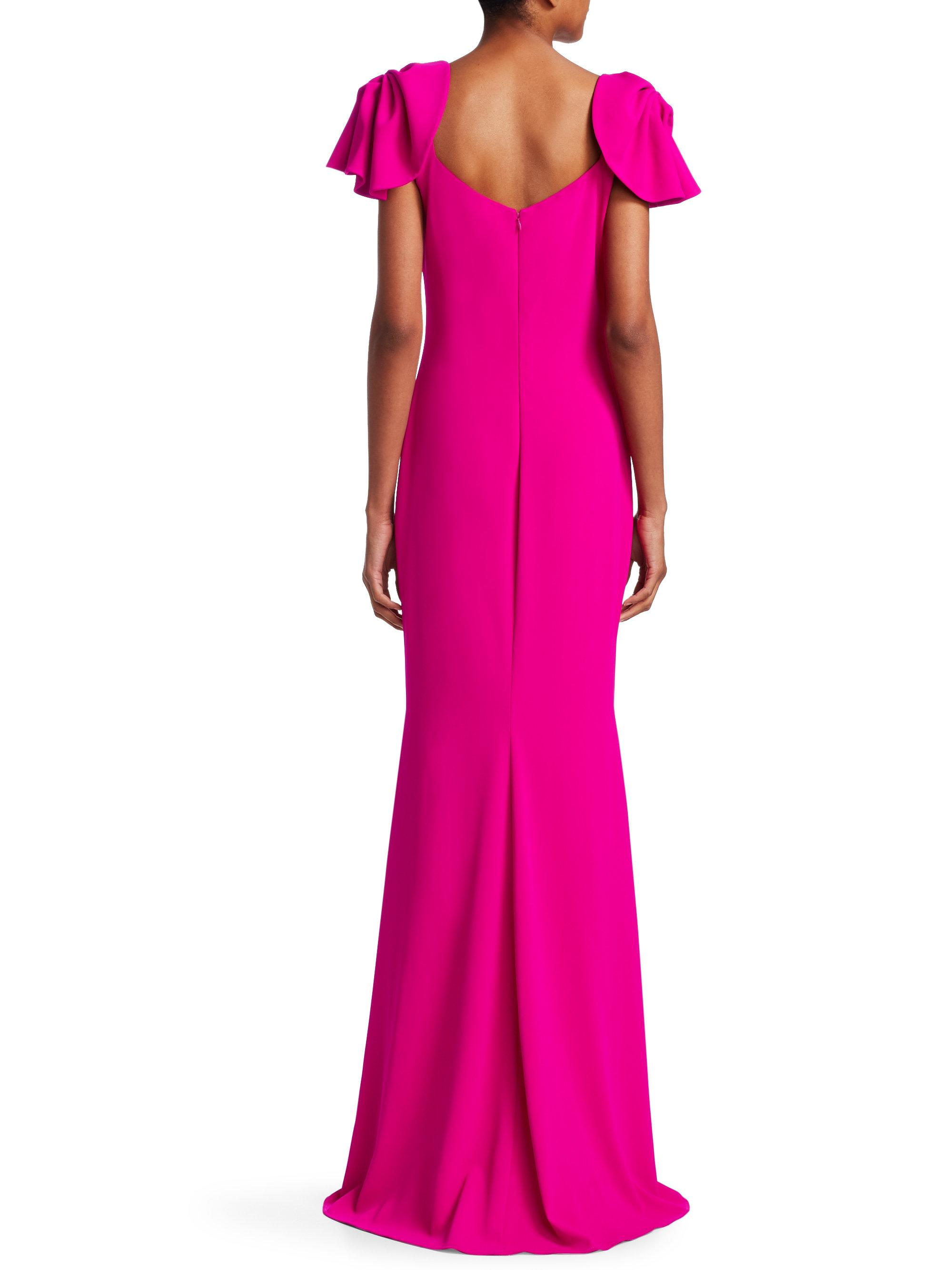 Lyst - Badgley Mischka Ruched-sleeve Bodycon Gown in Pink