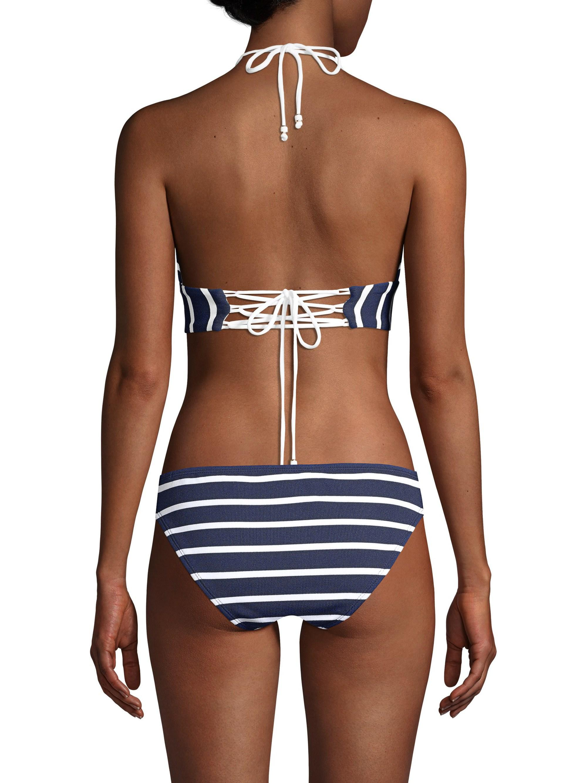 8c424ff88388a Shoshanna Women s Striped Bikini Top - Navy White - Size Ddd in Blue - Lyst