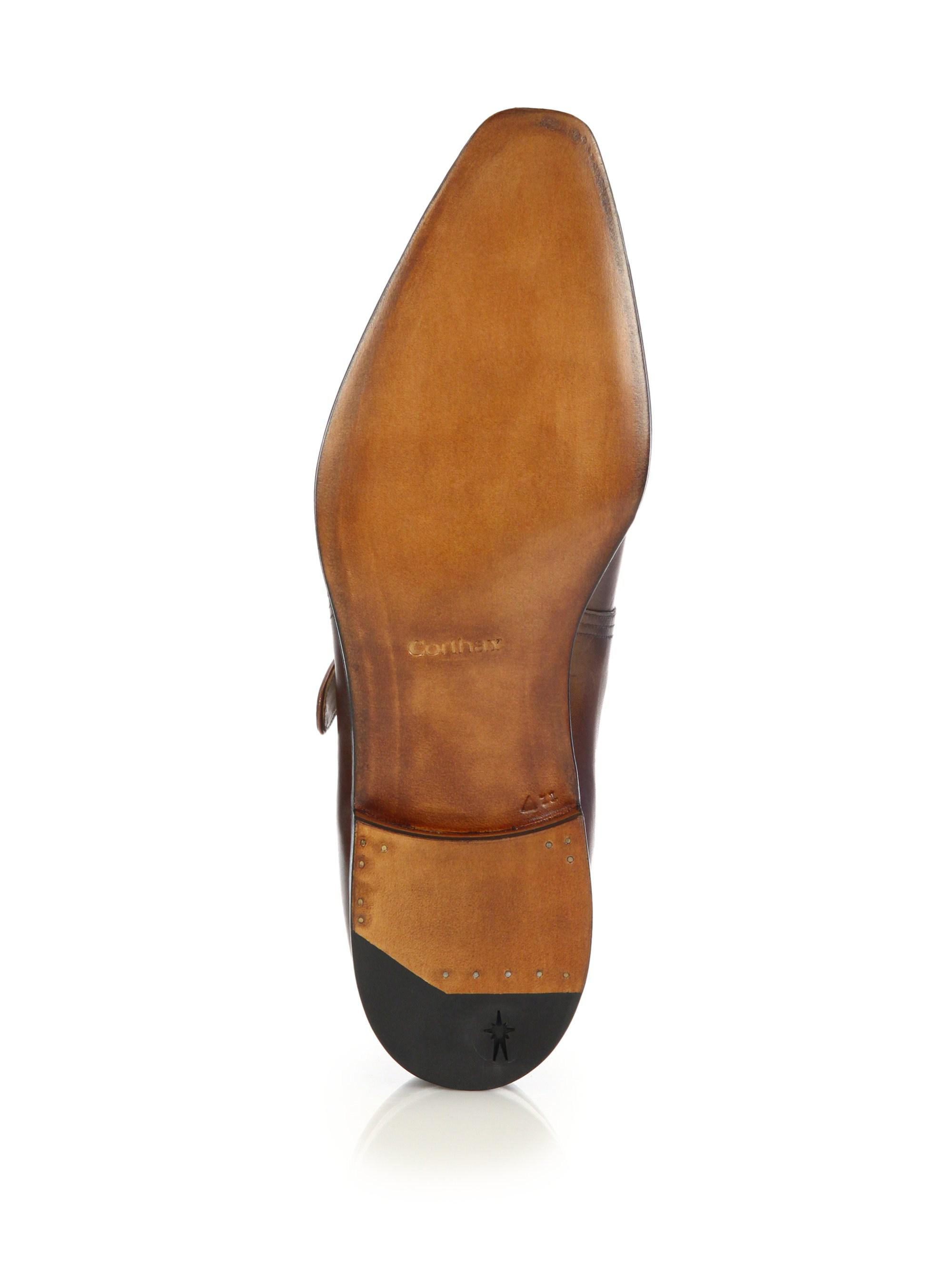 Corthay Arca Buckle Pullman French Leather Dress Shoes in Brown for