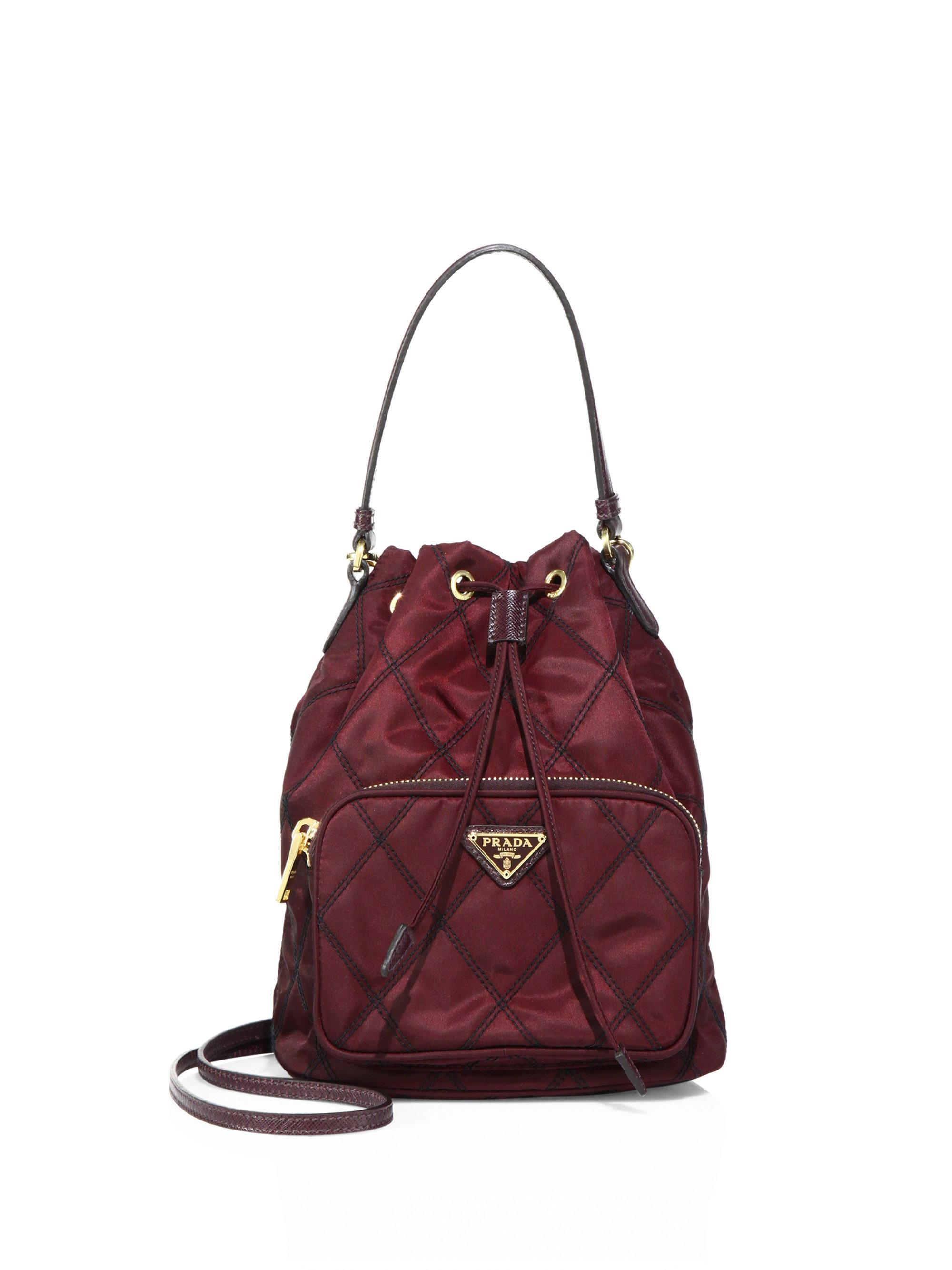 czech prada black nylon leather shoulder bag lyst. view fullscreen a0feb  07f63  italy lyst prada tessuto impunturato quilted nylon bucket bag 64ee4  78e22 18c7de22f0d4d