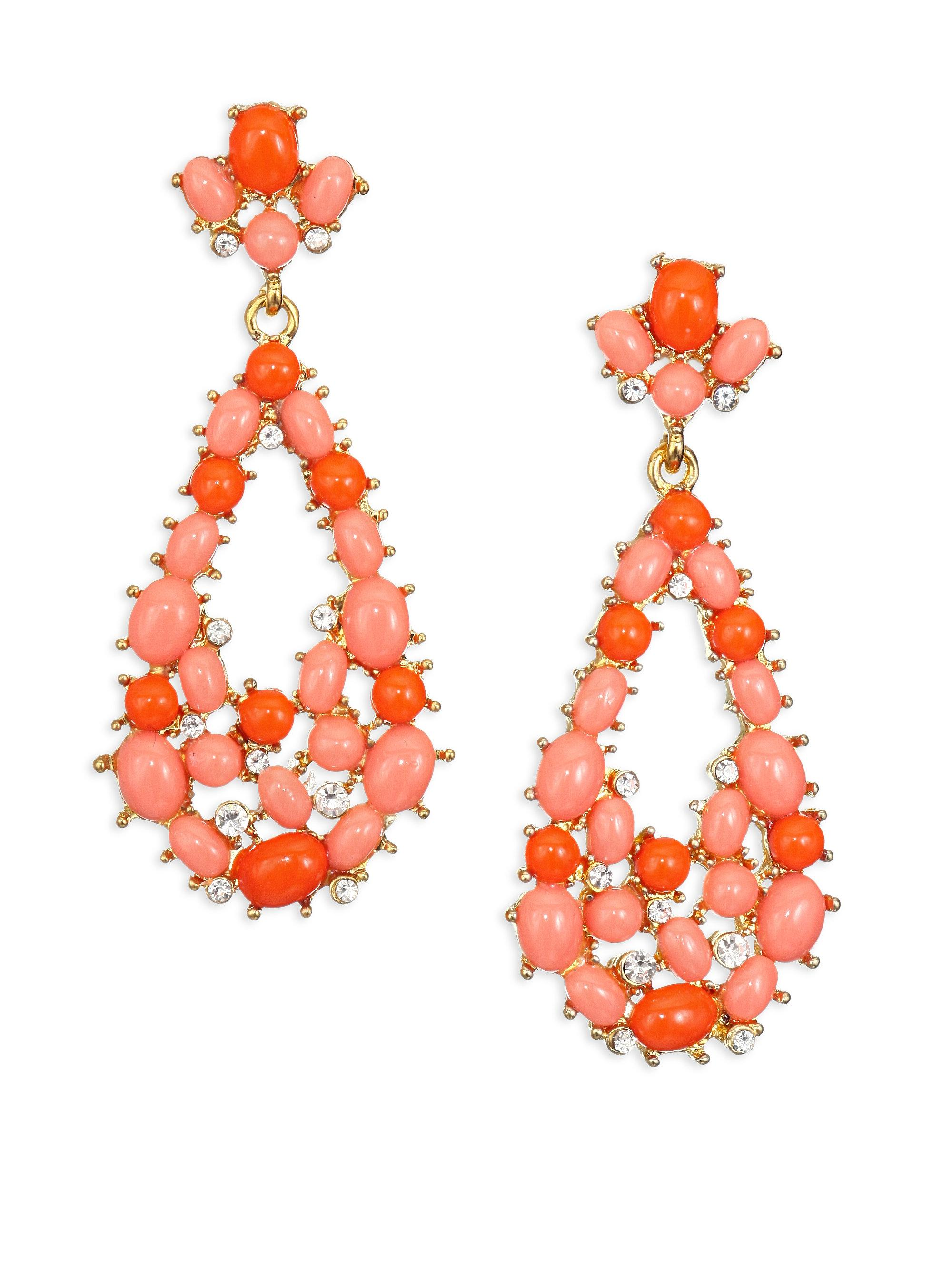 Kenneth Jay Lane Coral Shell Clip Earrings Coral QLj02y4t