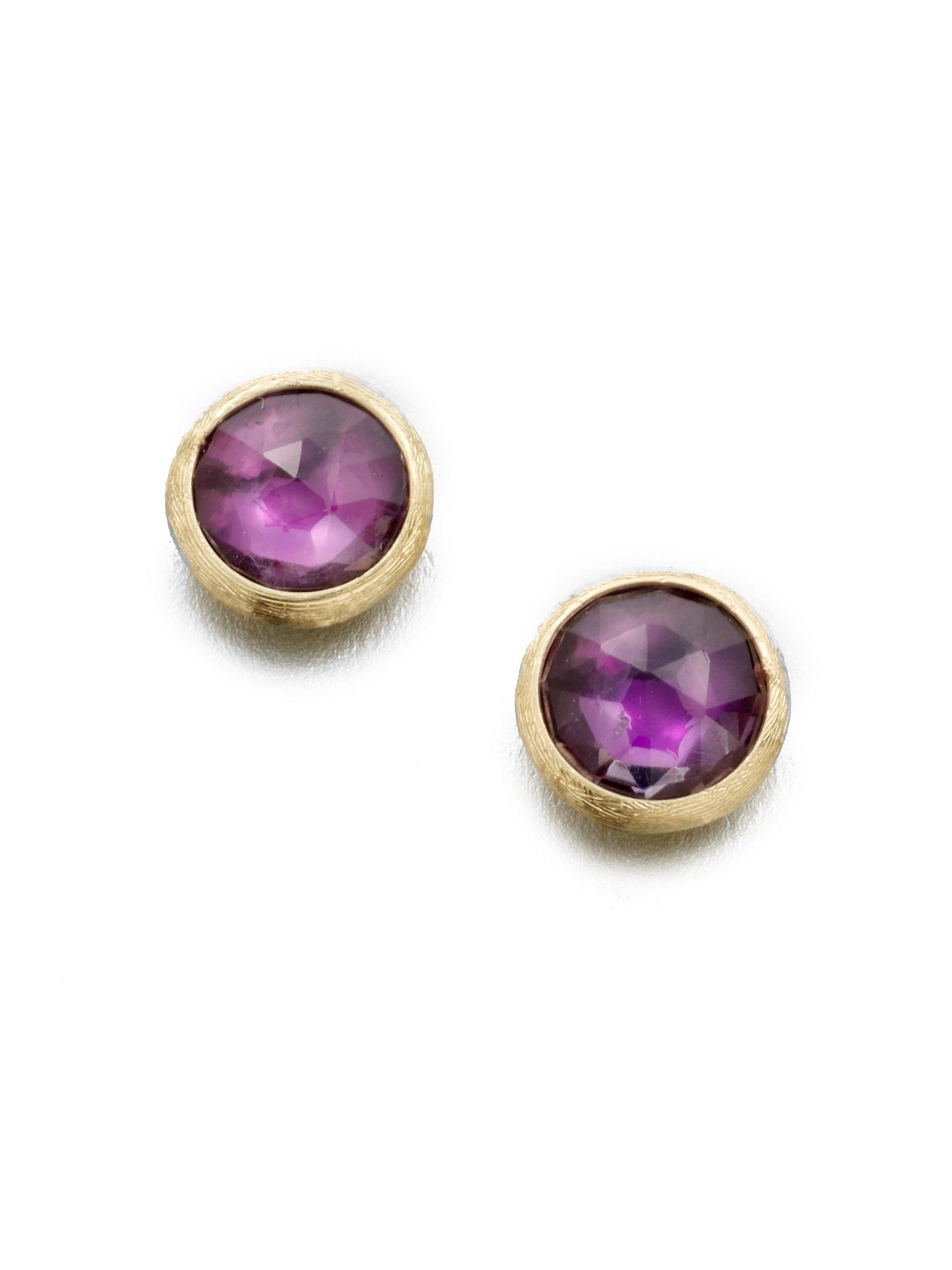 5353e33950bd Lyst - Marco Bicego Jaipur Amethyst   18k Yellow Gold Stud Earrings ...