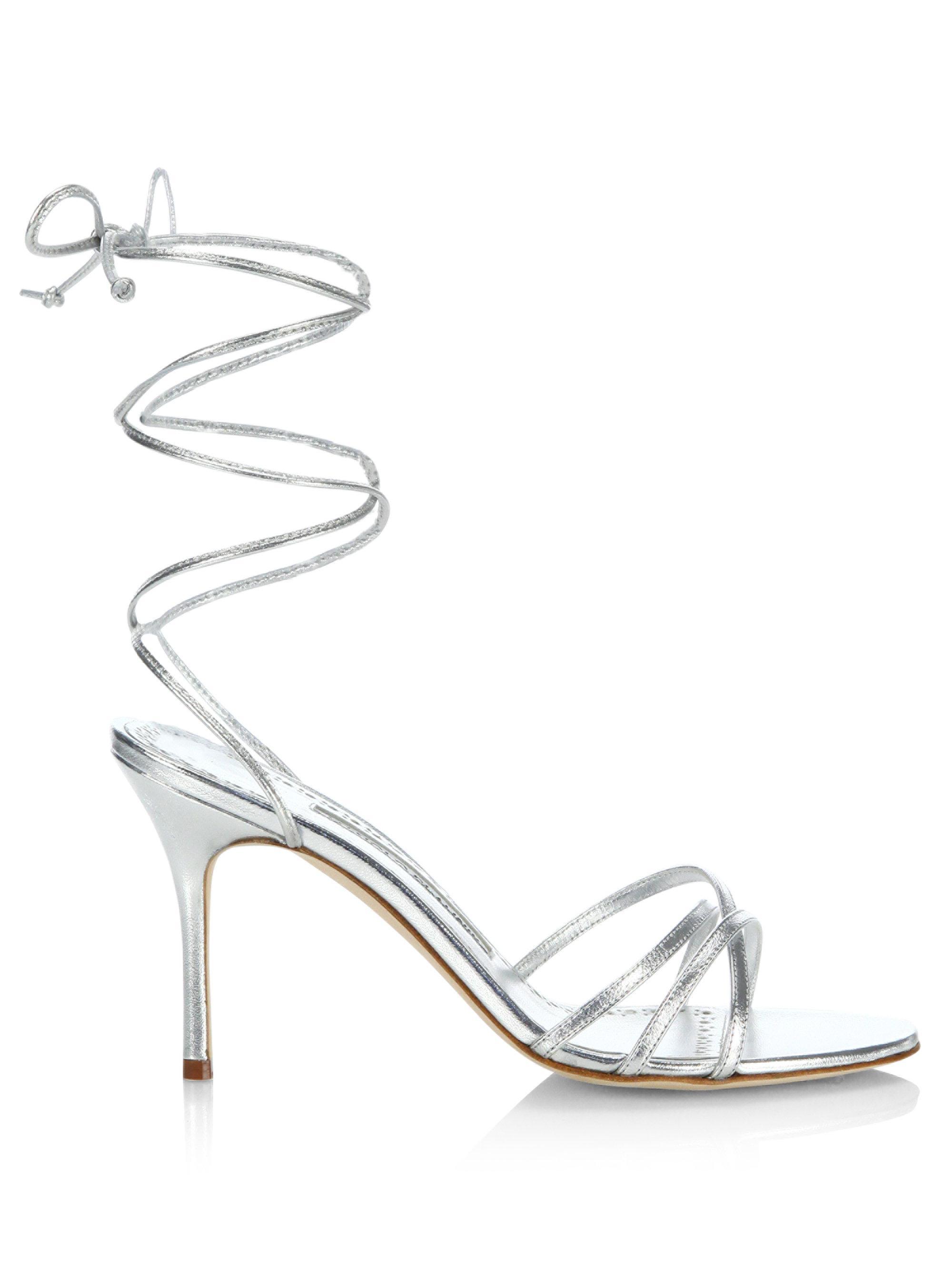 c9a39aca1b Manolo Blahnik Leva 90 Metallic Leather Ankle-wrap Sandals in ...