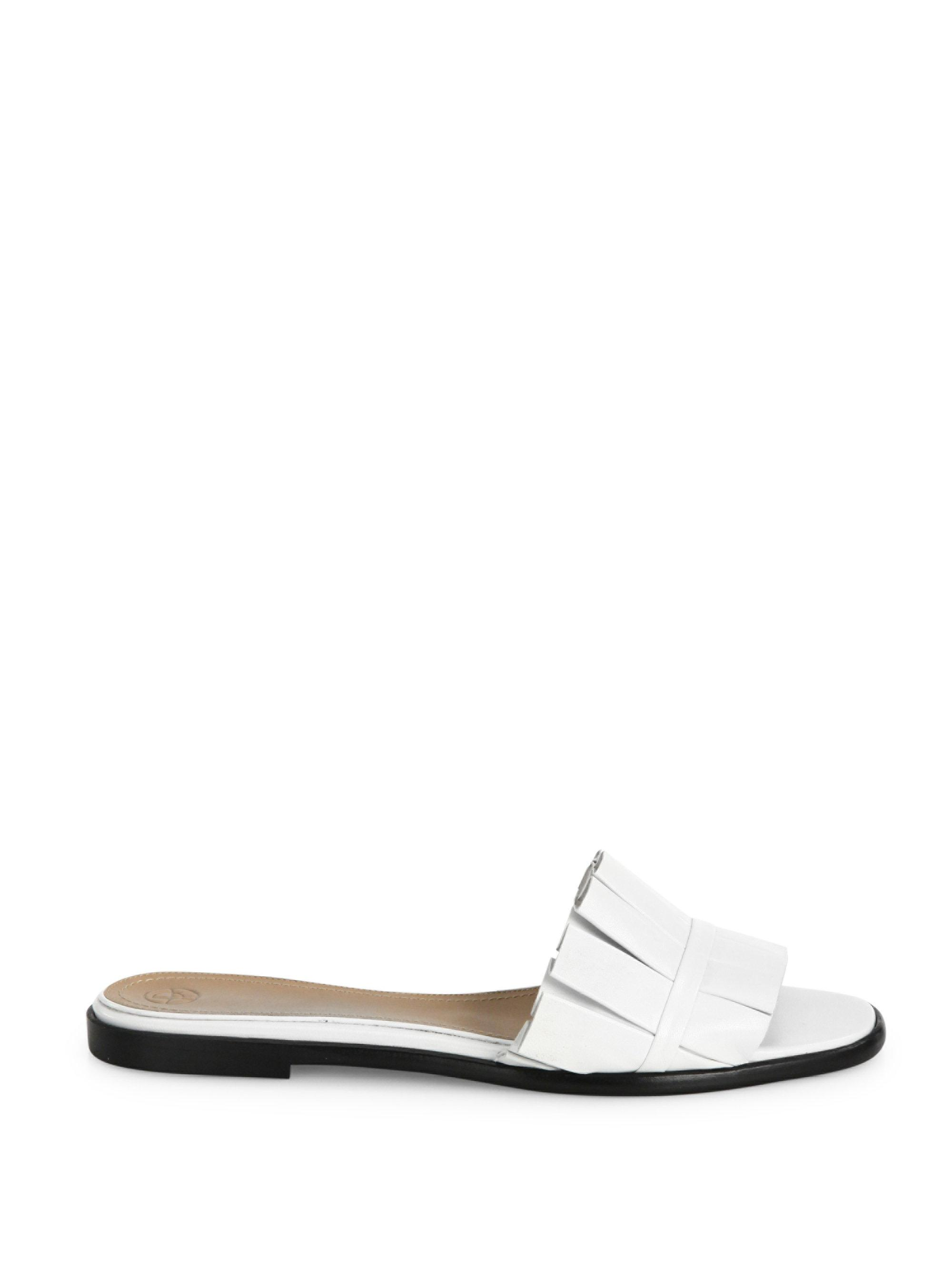 The Row - White Emma Pleated Suede Slides - Lyst. View fullscreen