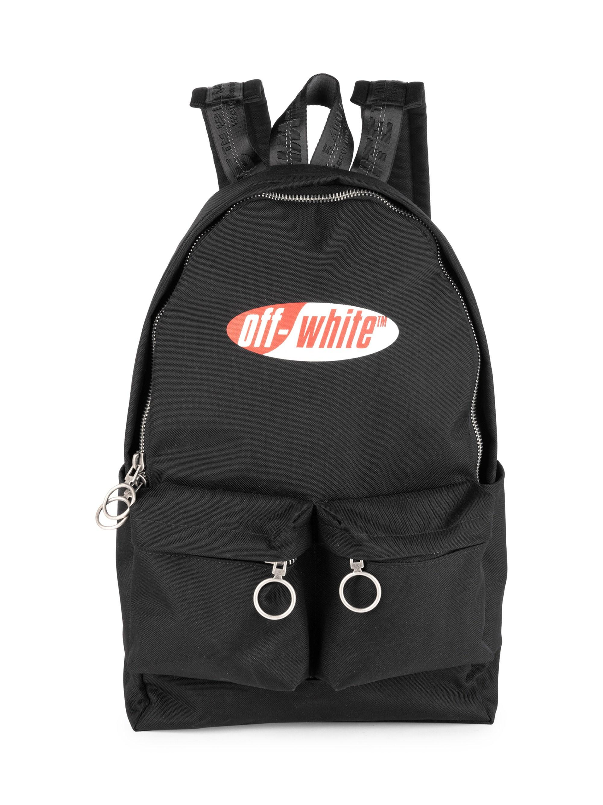 ba2be3b84a85 Off-White c o Virgil Abloh Men s Split Logo Backpack - Black Red in ...