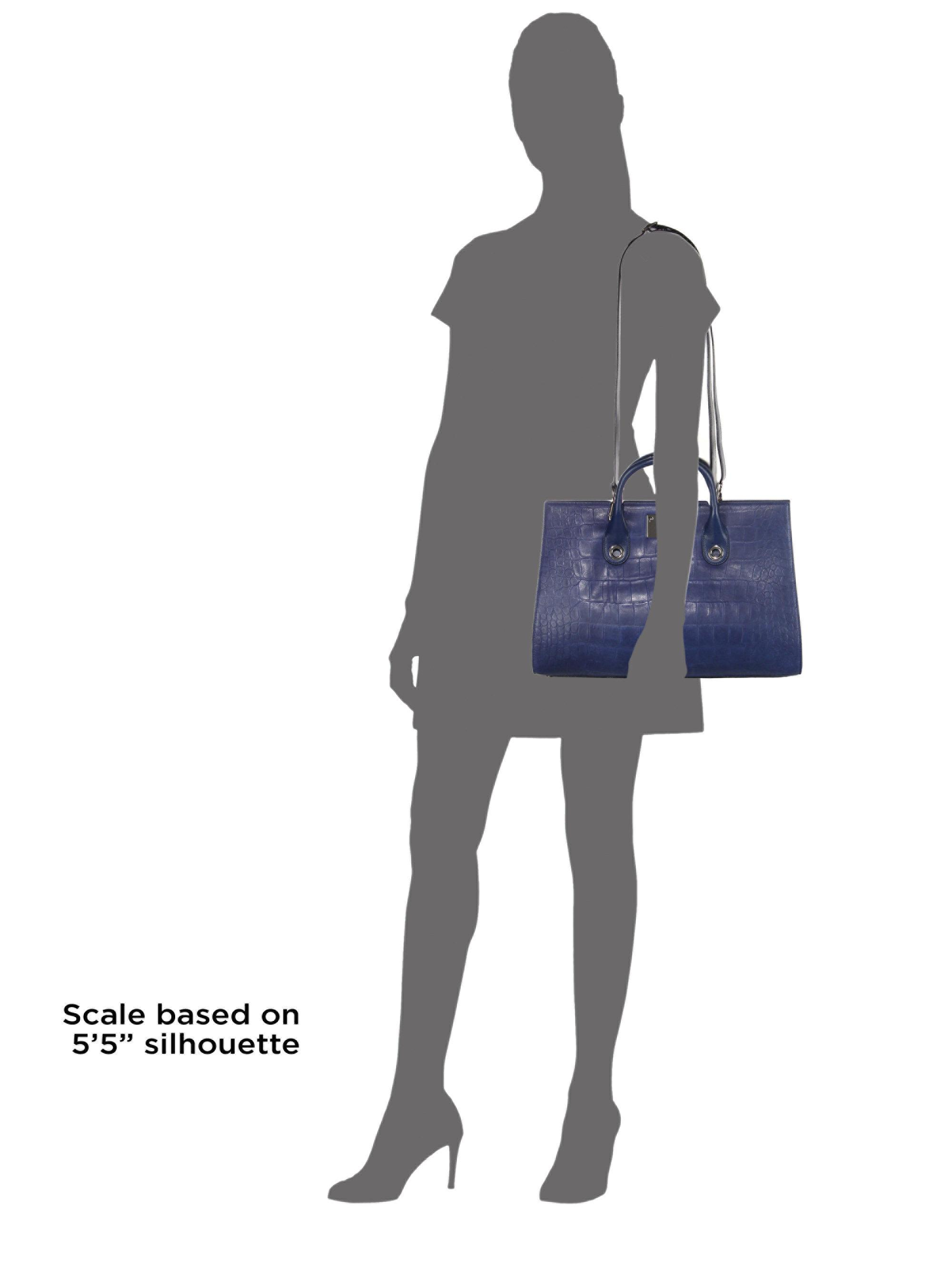 f85e3aa776 Jimmy Choo Riley Croc-embossed Satin Leather Tote in Blue - Lyst