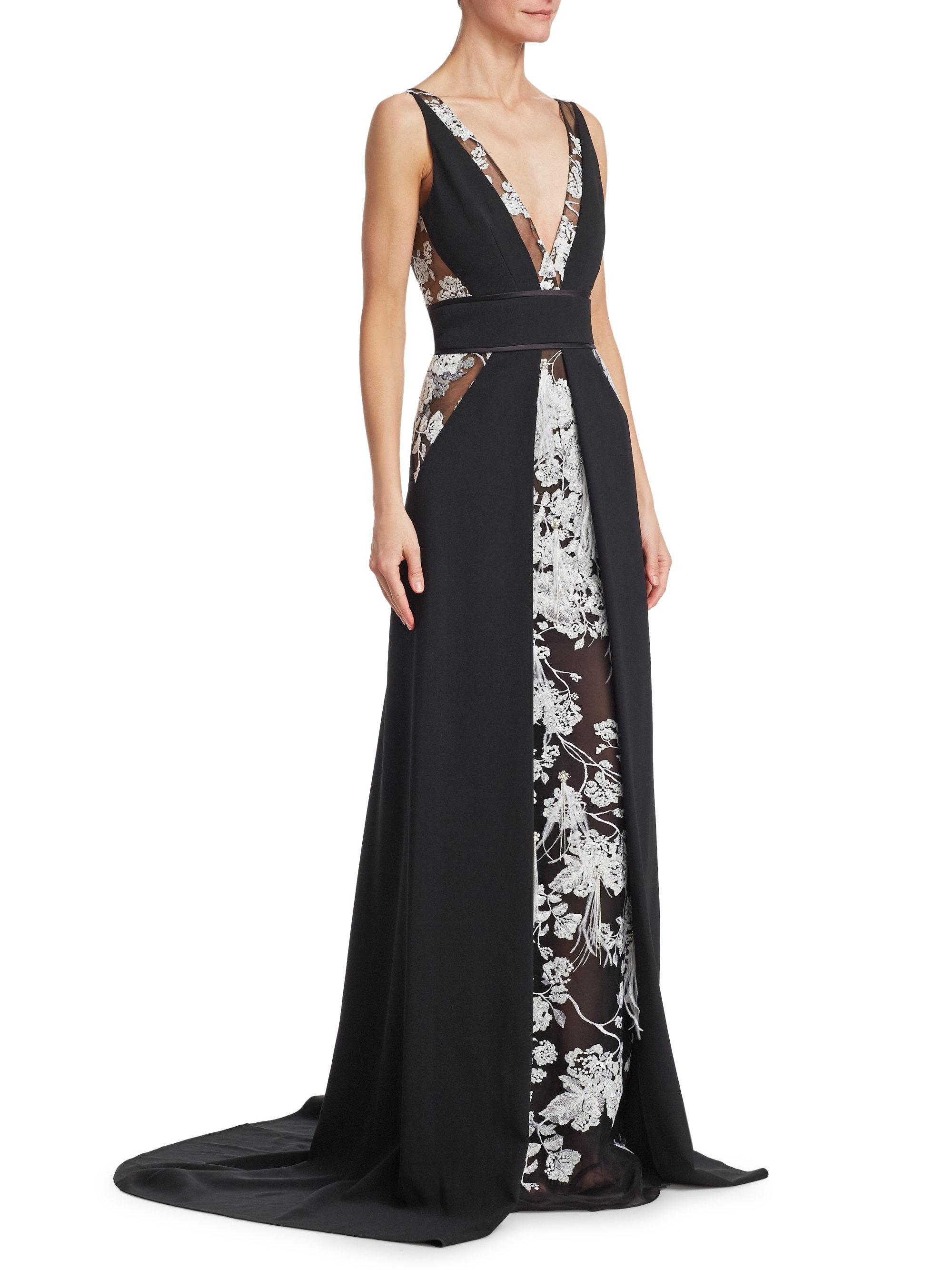 Stretch Crepe Embroidered Gown Pamella Roland Buy Cheap Store Cool Shopping Buy Cheap Outlet Locations Big Sale Sale Online Outlet Shop Offer rMs5ZaL