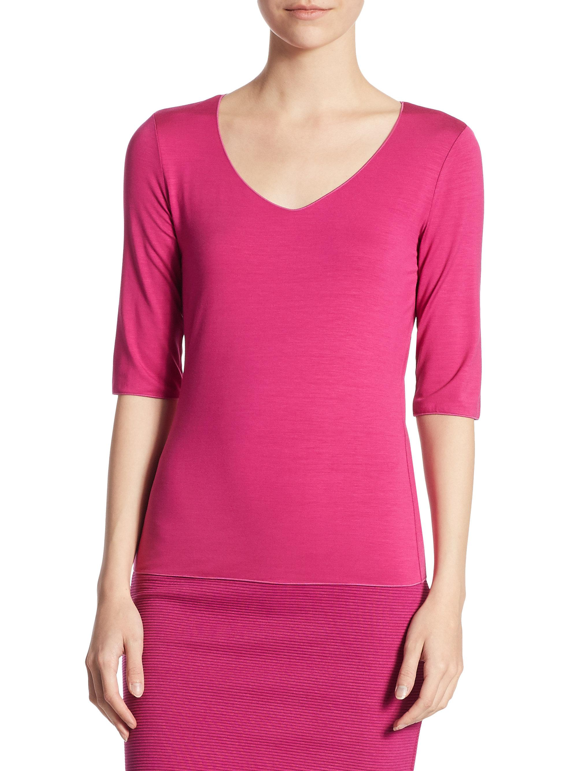 Lyst armani elbow sleeve tee in pink for Elbow length t shirts women s