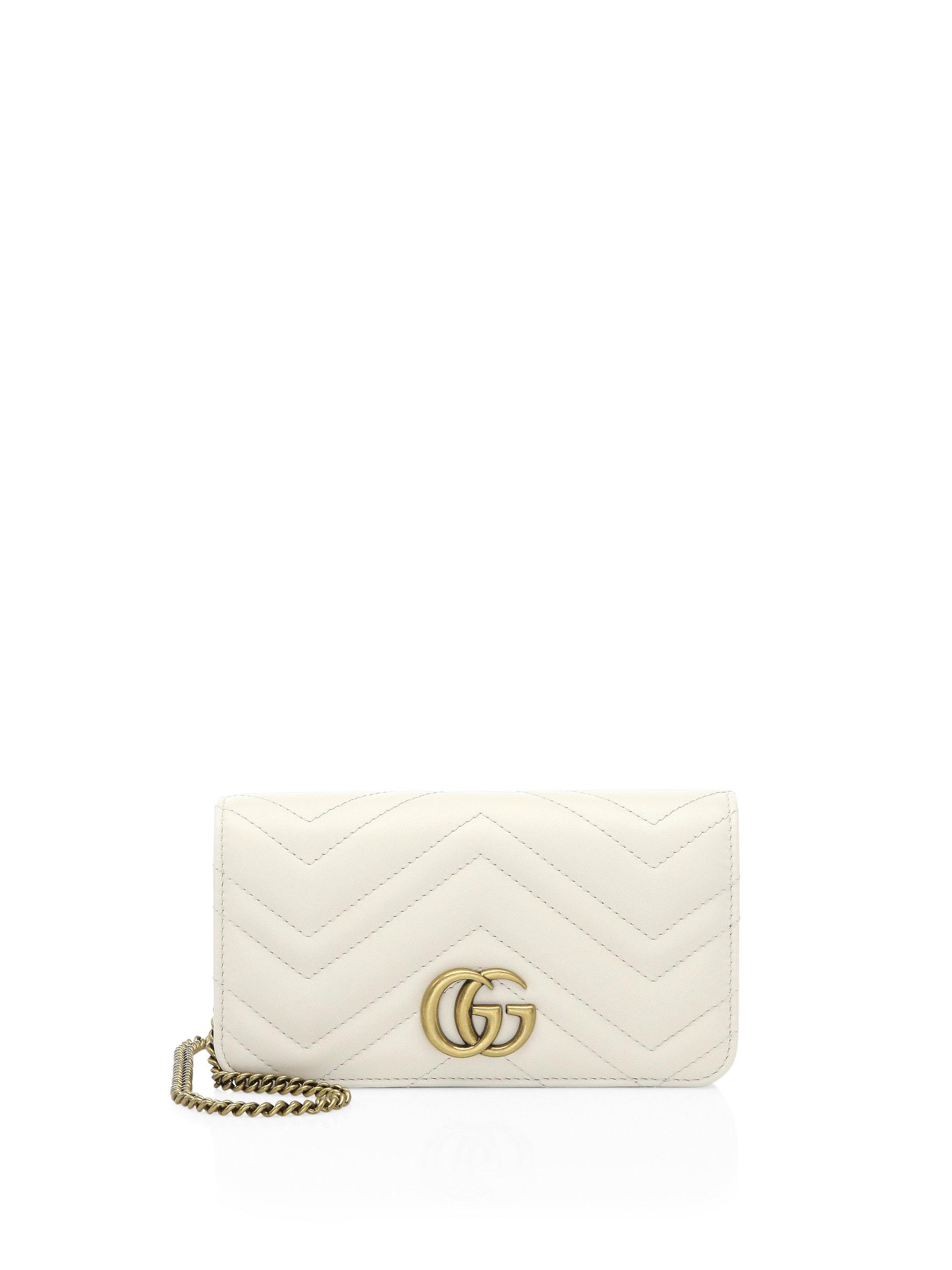 38bc89c5b Gucci Marmont 2.0 Leather Crossbody Bag in White - Lyst