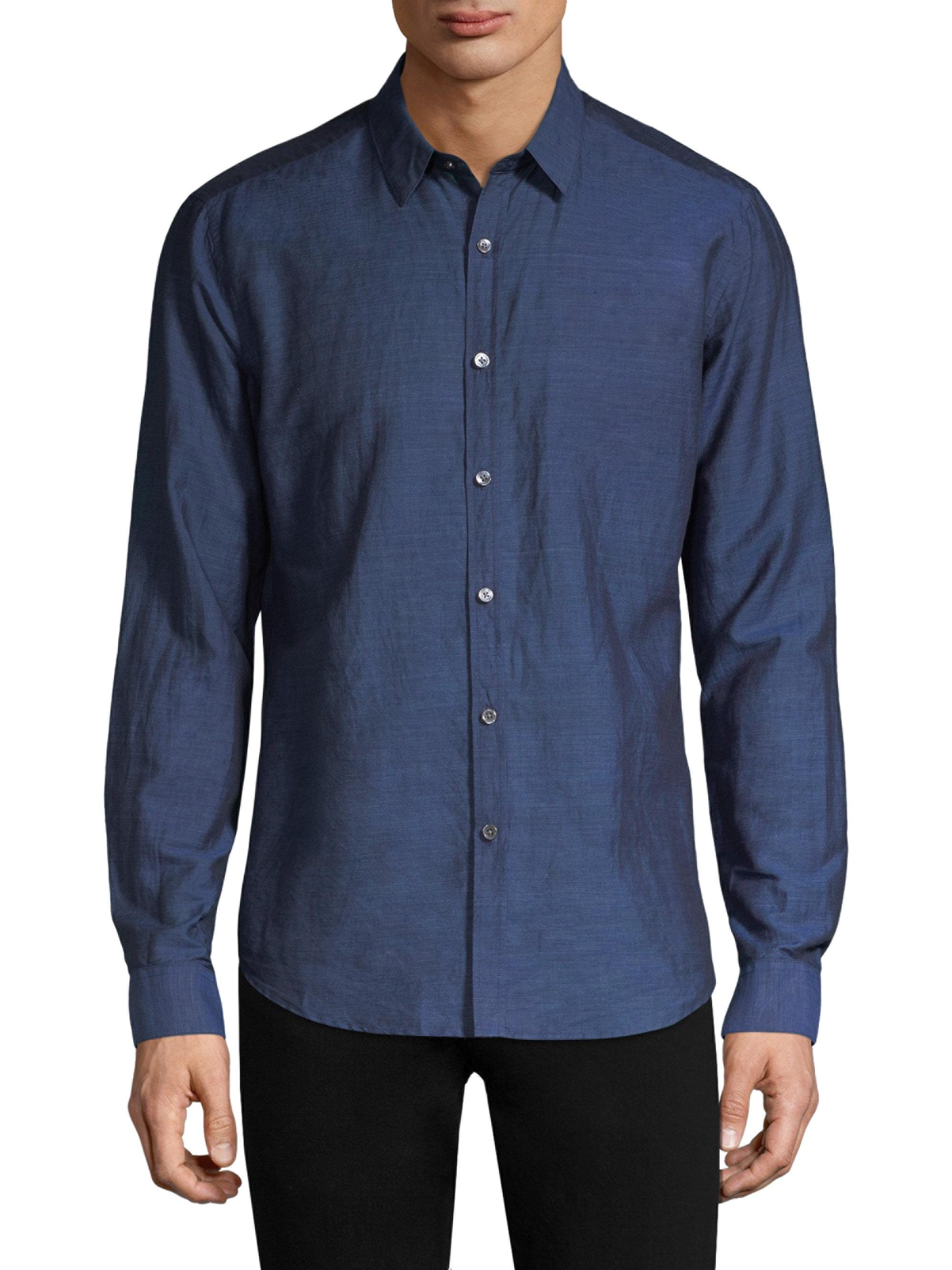 Lyst theory cotton button down shirt in blue for men for Cotton button down shirts men