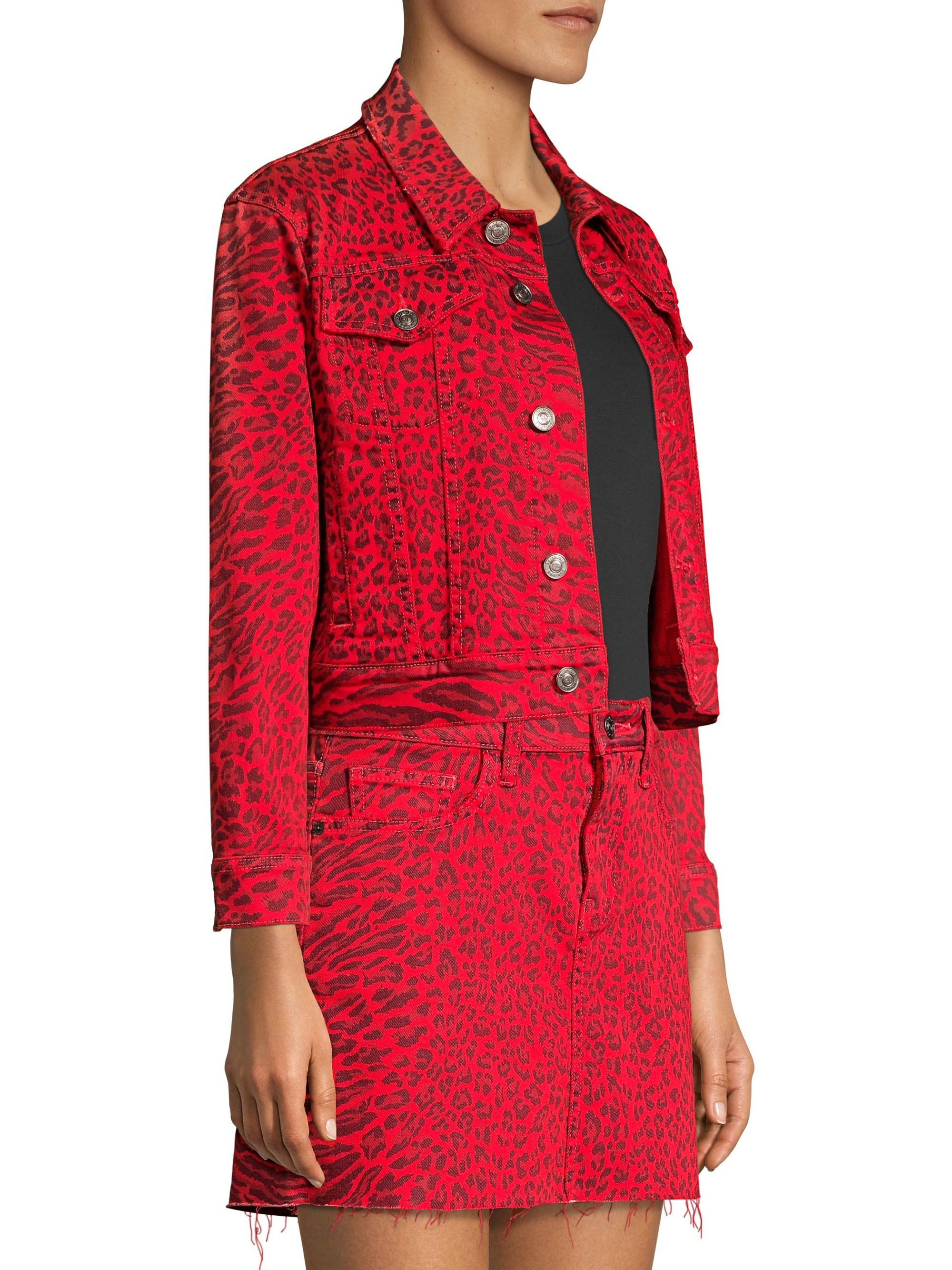 a1e19ff84 Lyst - Current Elliott The Baby Trucker Leopard Print Jacket in Red