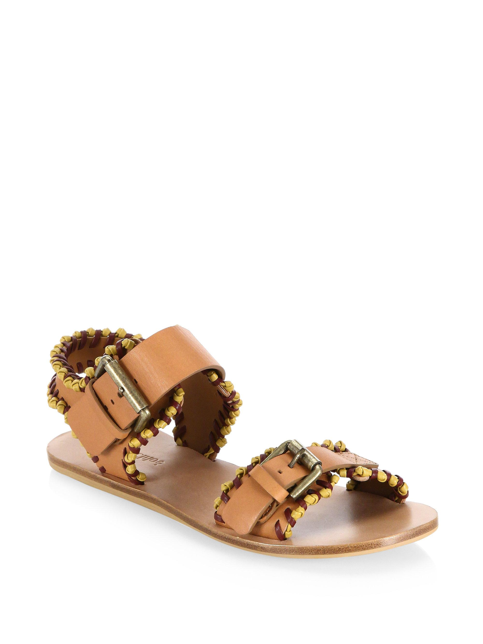 4327b2f6d413c Women s Brown Romy Whipstitch Flat Sandal free delivery c063c efd8d . ...