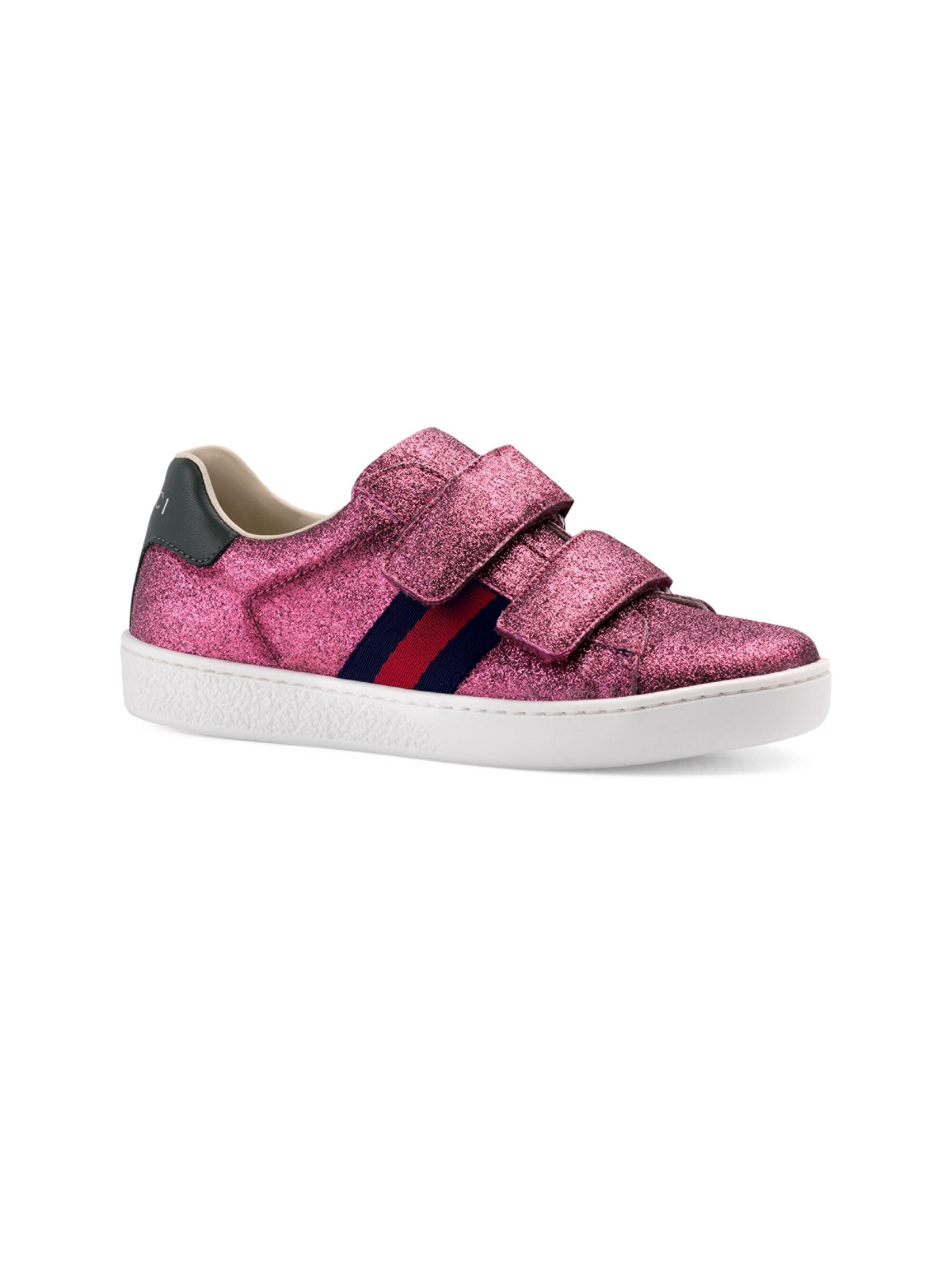 d9f8ef1d5 Lyst - Gucci Girl's Glitter Sneakers in Pink