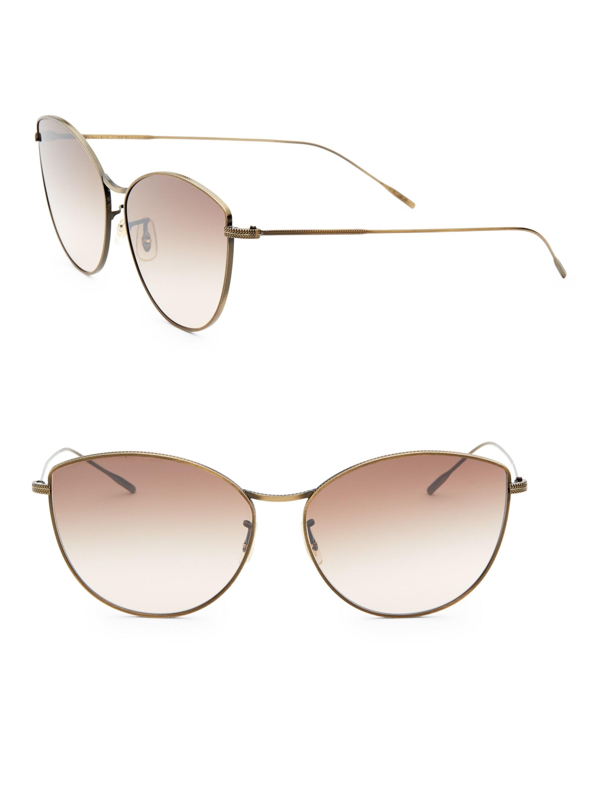 9899b55e7a1 Lyst - Oliver Peoples Women s Rayette 60mm Cat-eye Sunglasses - Gold ...