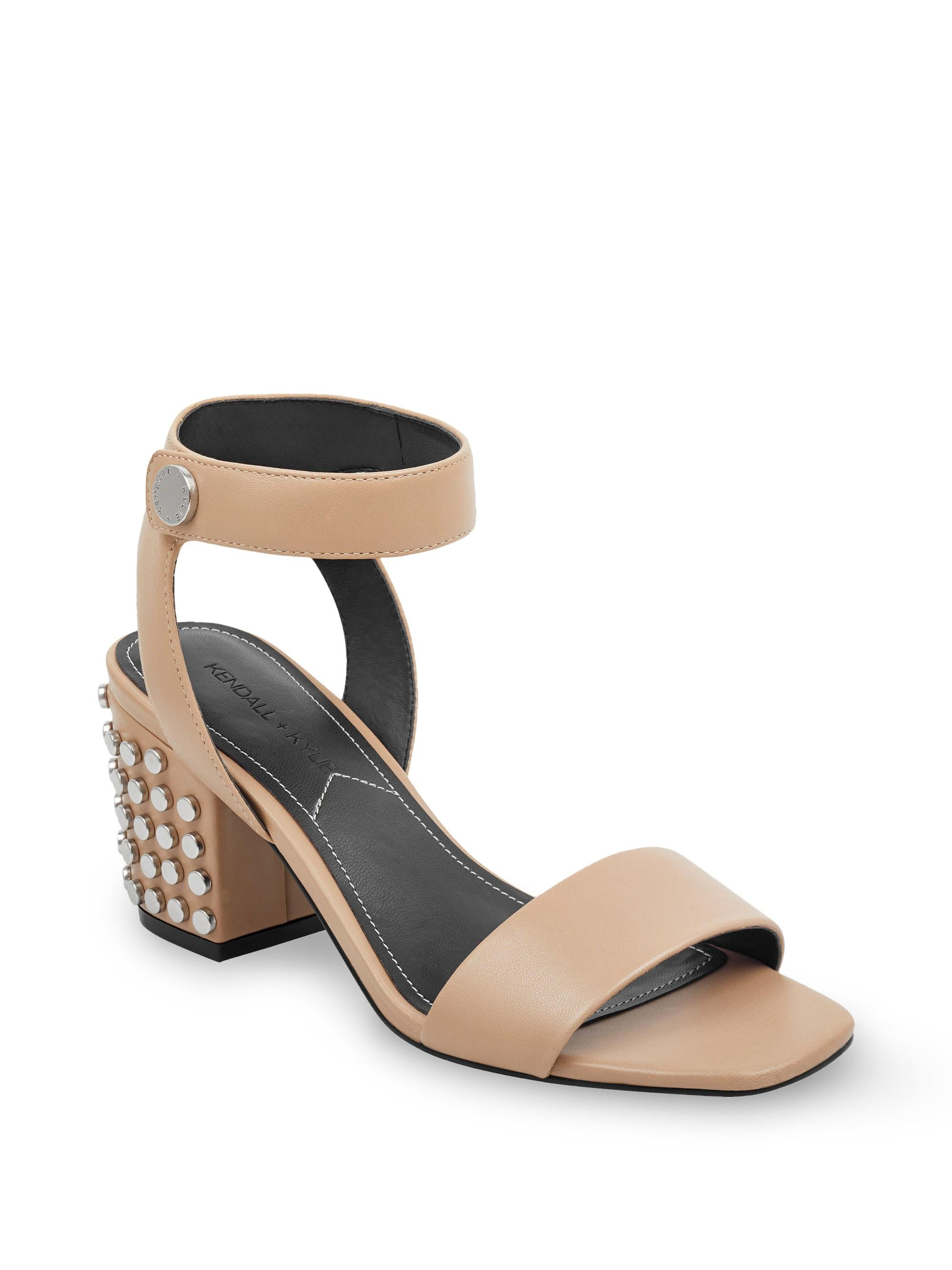 036c8120bcfc Kendall + Kylie - Natural Sophie Studded Block Heel Sandals - Lyst. View  fullscreen