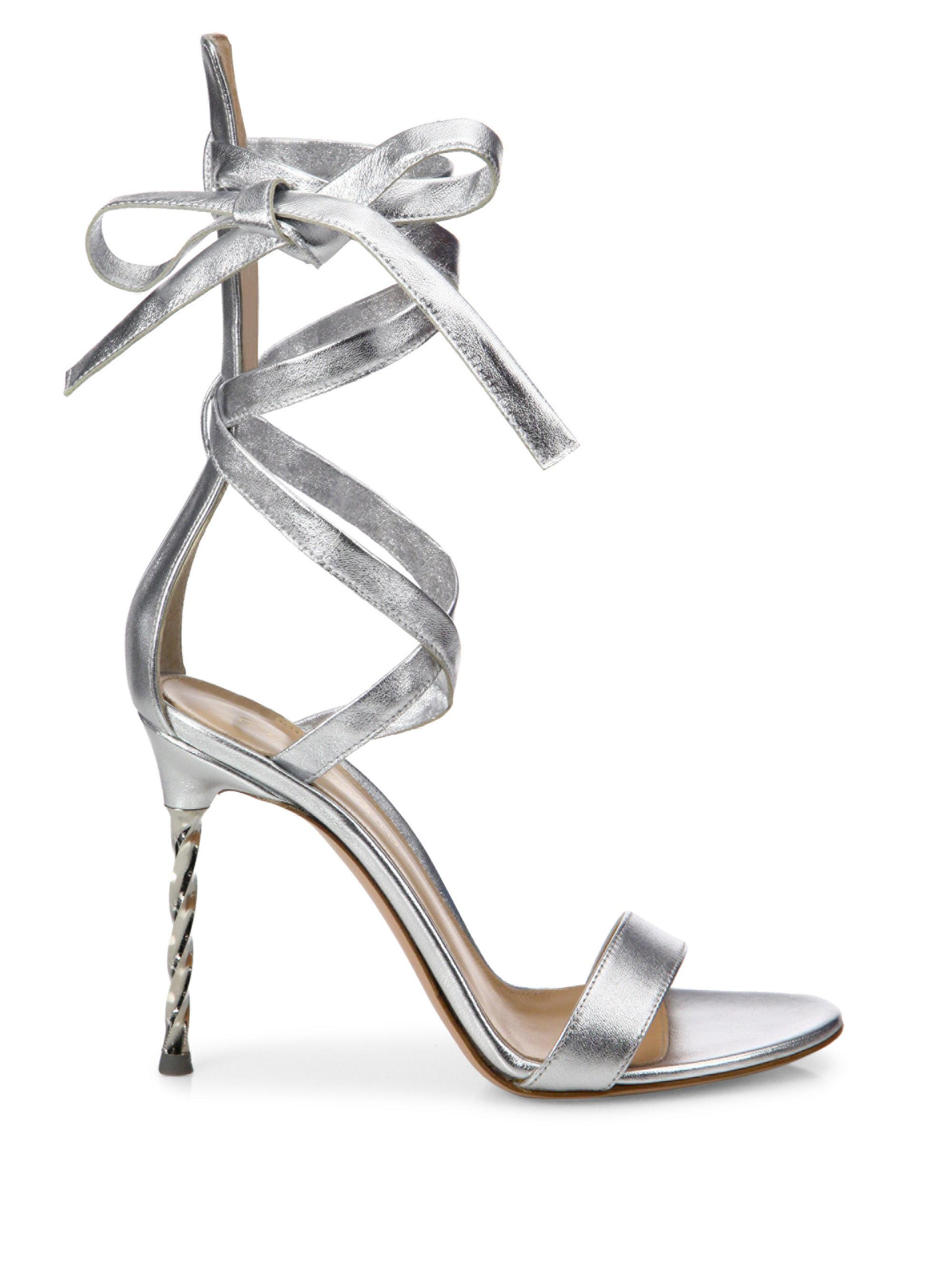 b1e94901499d5f Lyst - Gianvito Rossi Folie Metallic Leather Ankle-wrap Sandals in ...