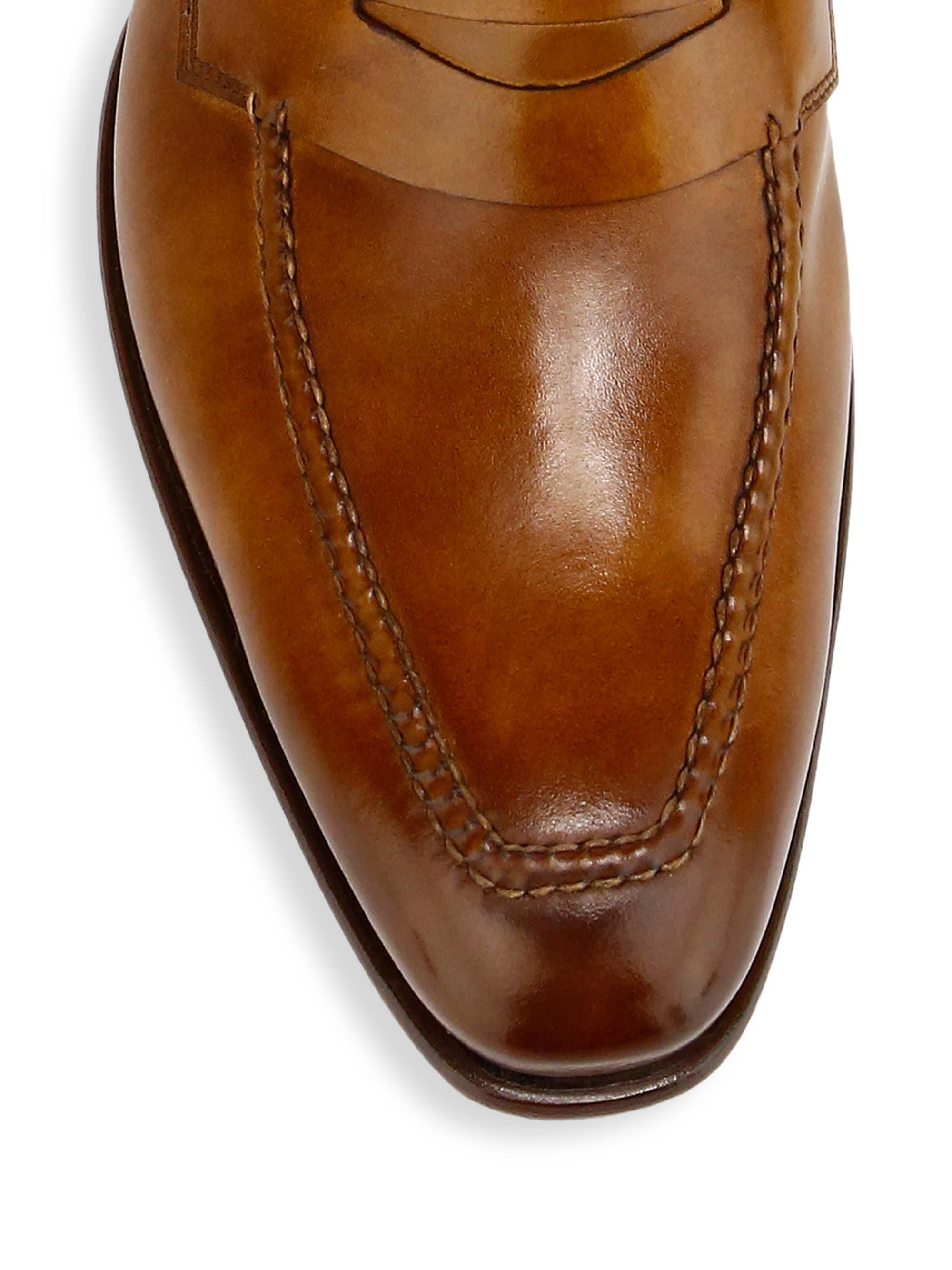 d1967752060 Lyst - Santoni Ibiscus Leather Penny Loafers in Brown for Men