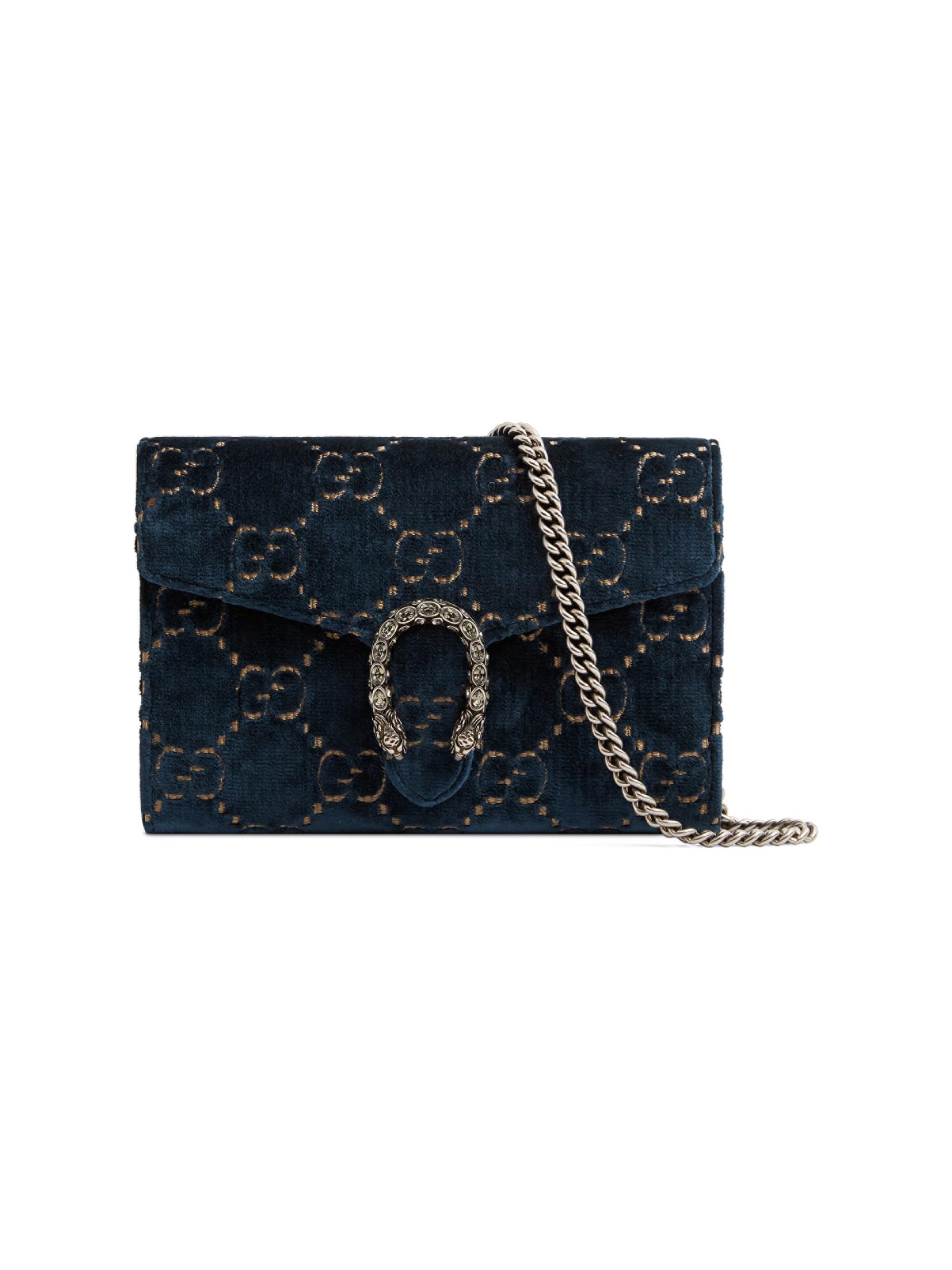 de4e62004e6e Gucci Women's Mini Dionysus Velvet Chain Wallet - Black in Blue - Lyst