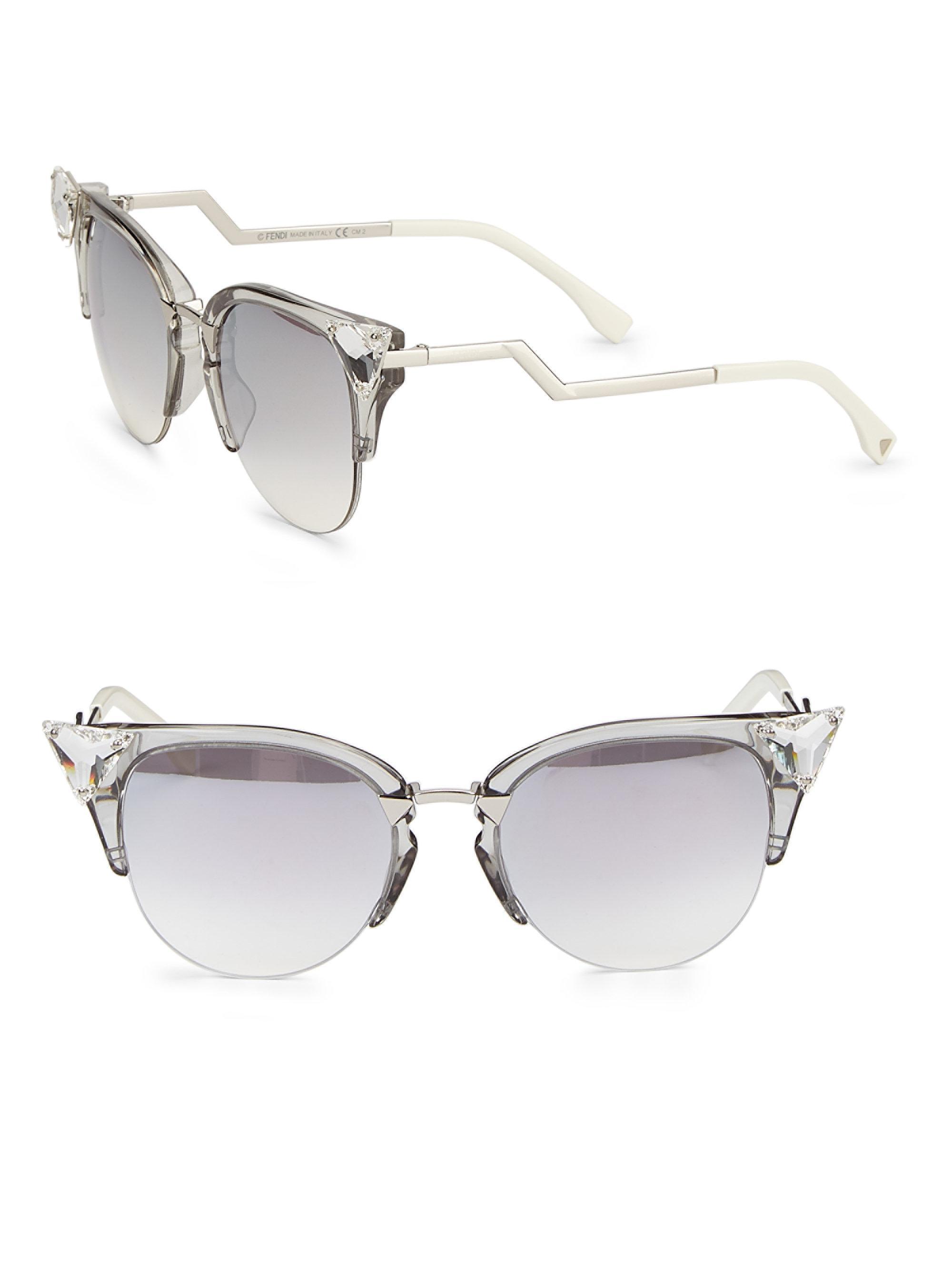 ed81ba0fc00 Lyst - Fendi Edged Zig-zag Optyl Cat s-eye Sunglasses in Metallic