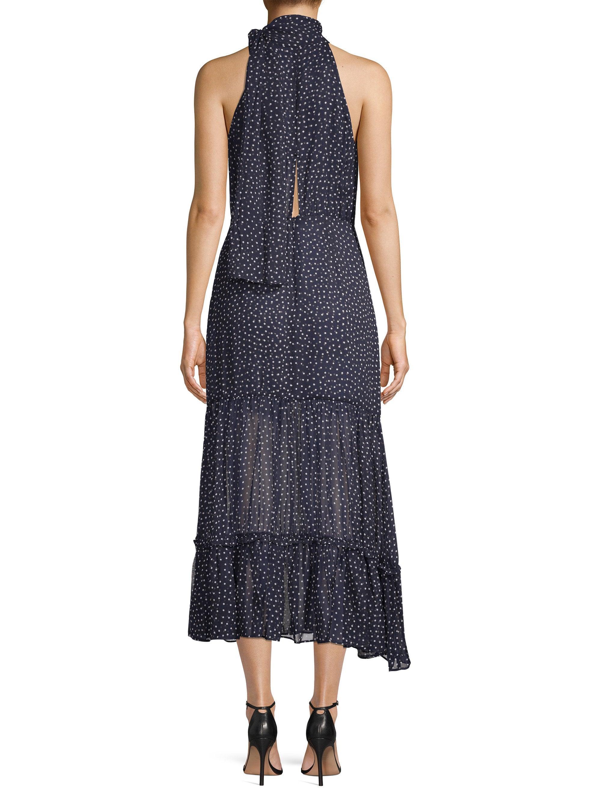 95ed22bbd77 Lyst - RIXO London Eleanor Tie-neck Polka Dot Silk A-line Midi Dress in Blue