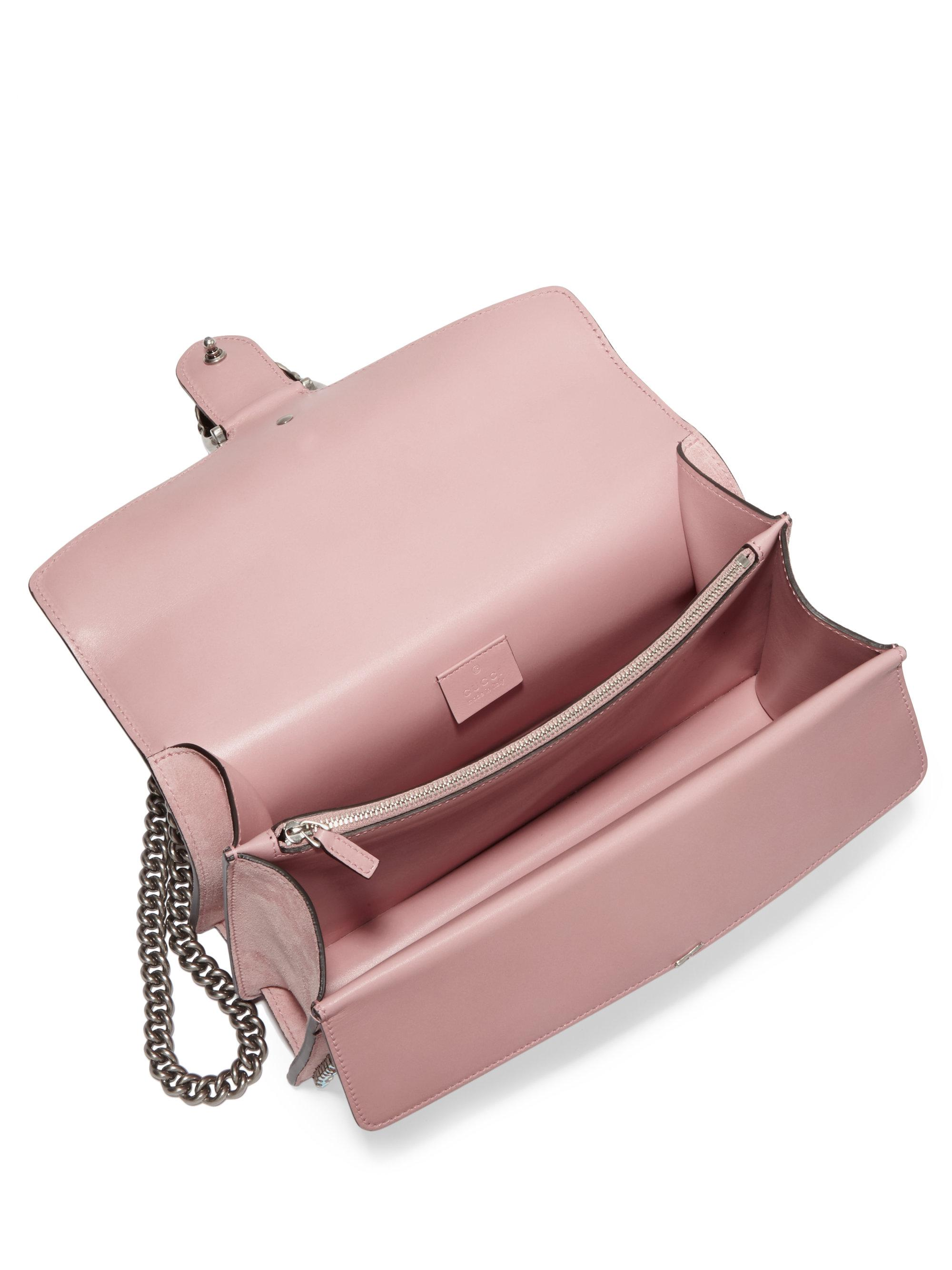 53b838c63d60 Lyst - Gucci Small Crystal-embellished Suede Chain Shoulder Bag in Pink