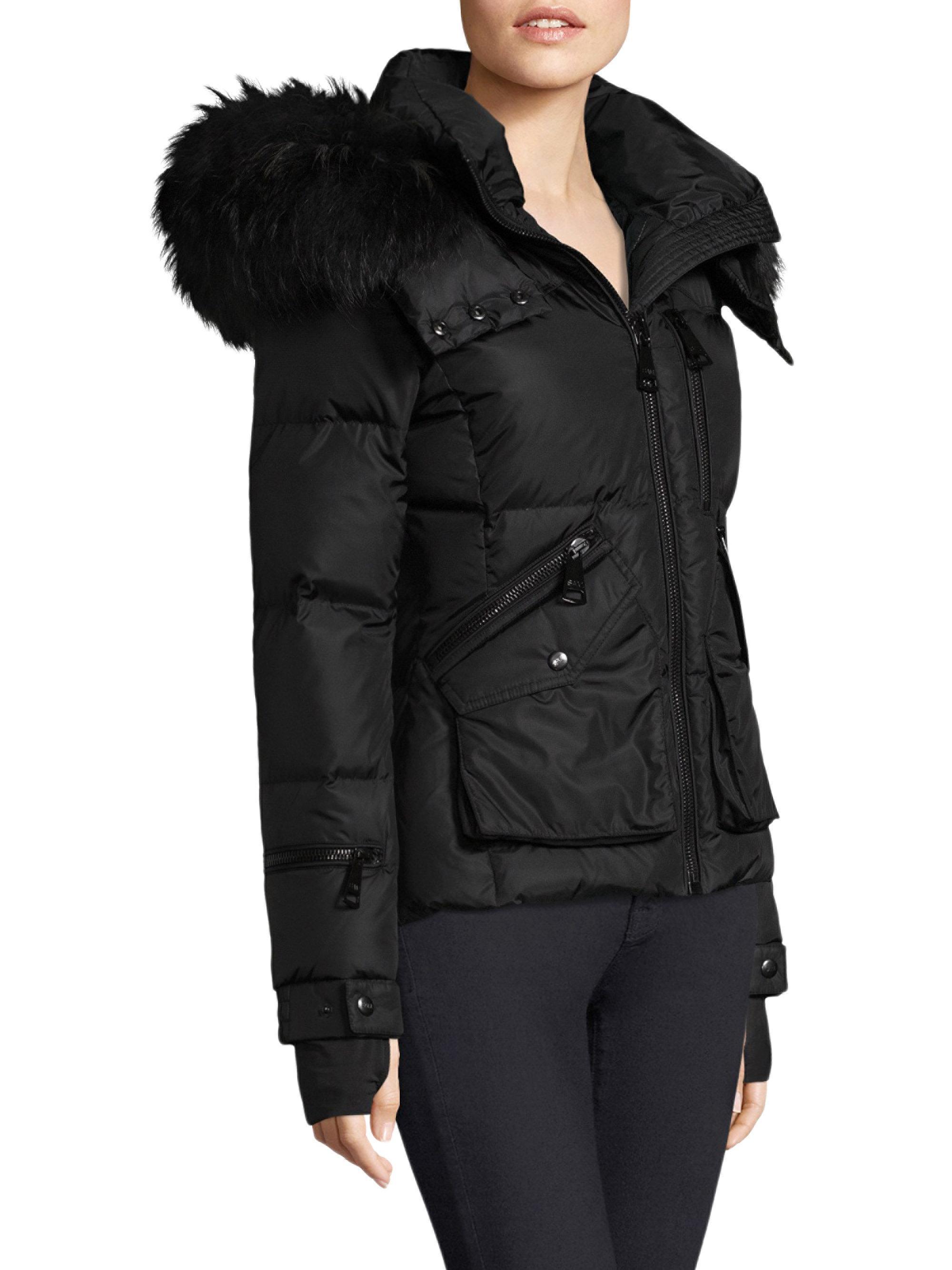 3f3f38f4b Sam. Jetset Fur Trimmed Coat in Black - Lyst
