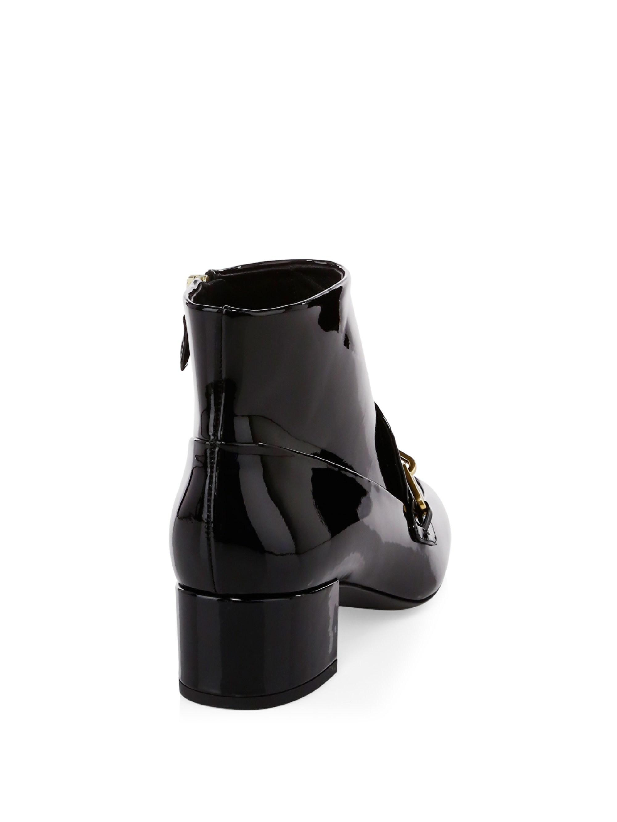 4788533dcc5 Burberry Chain Patent Leather Ankle Boots in Black - Lyst