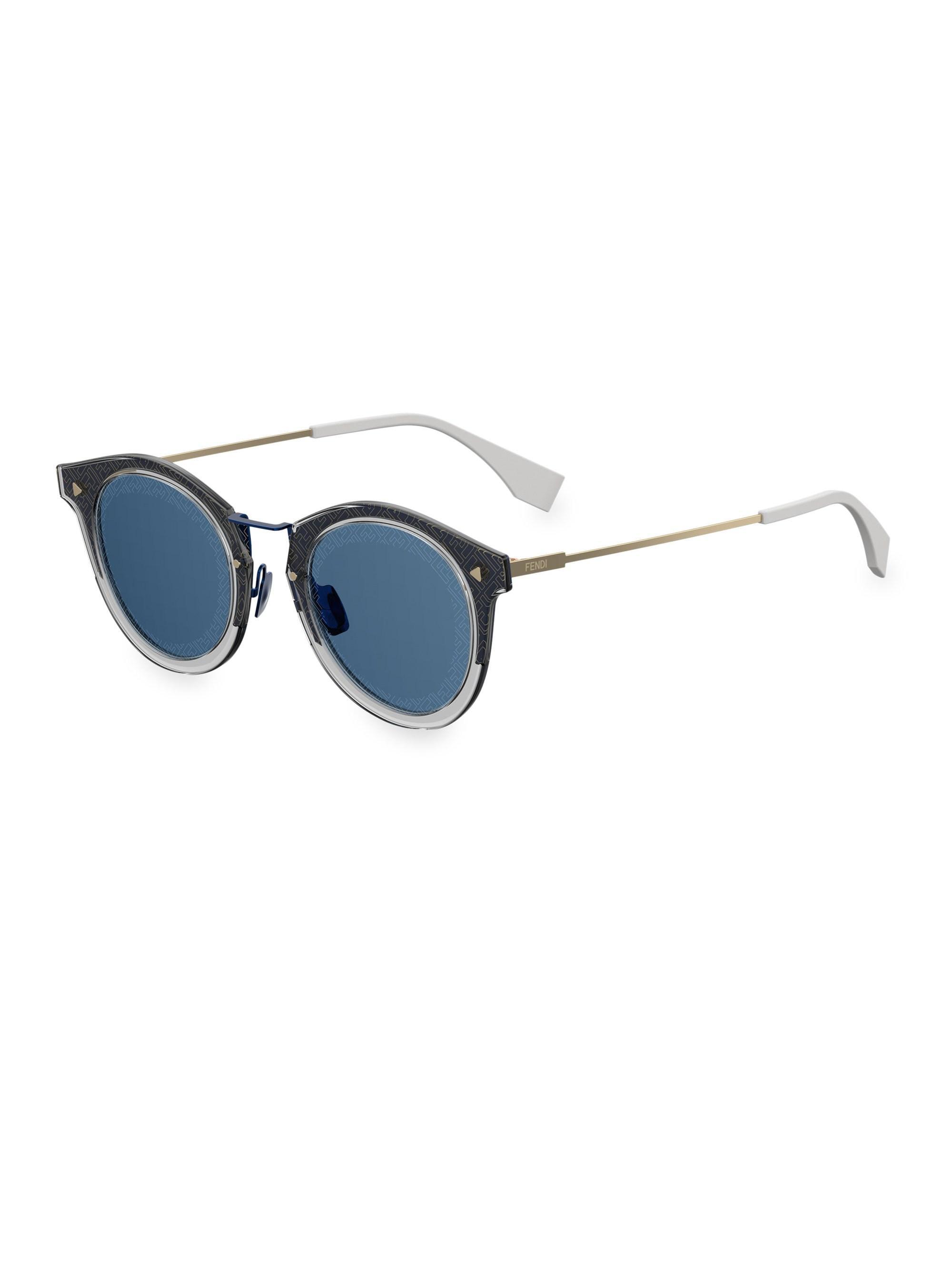 7356049848 Fendi - Blue 47mm Pantos Ff Print Sunglasses for Men - Lyst. View fullscreen