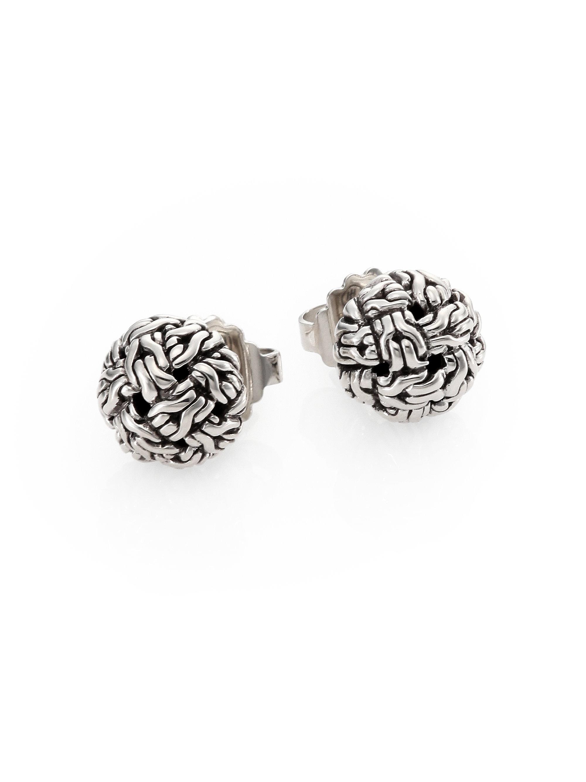 Lyst John Hardy Clic Chain Silver Knot Stud Earrings In Metallic